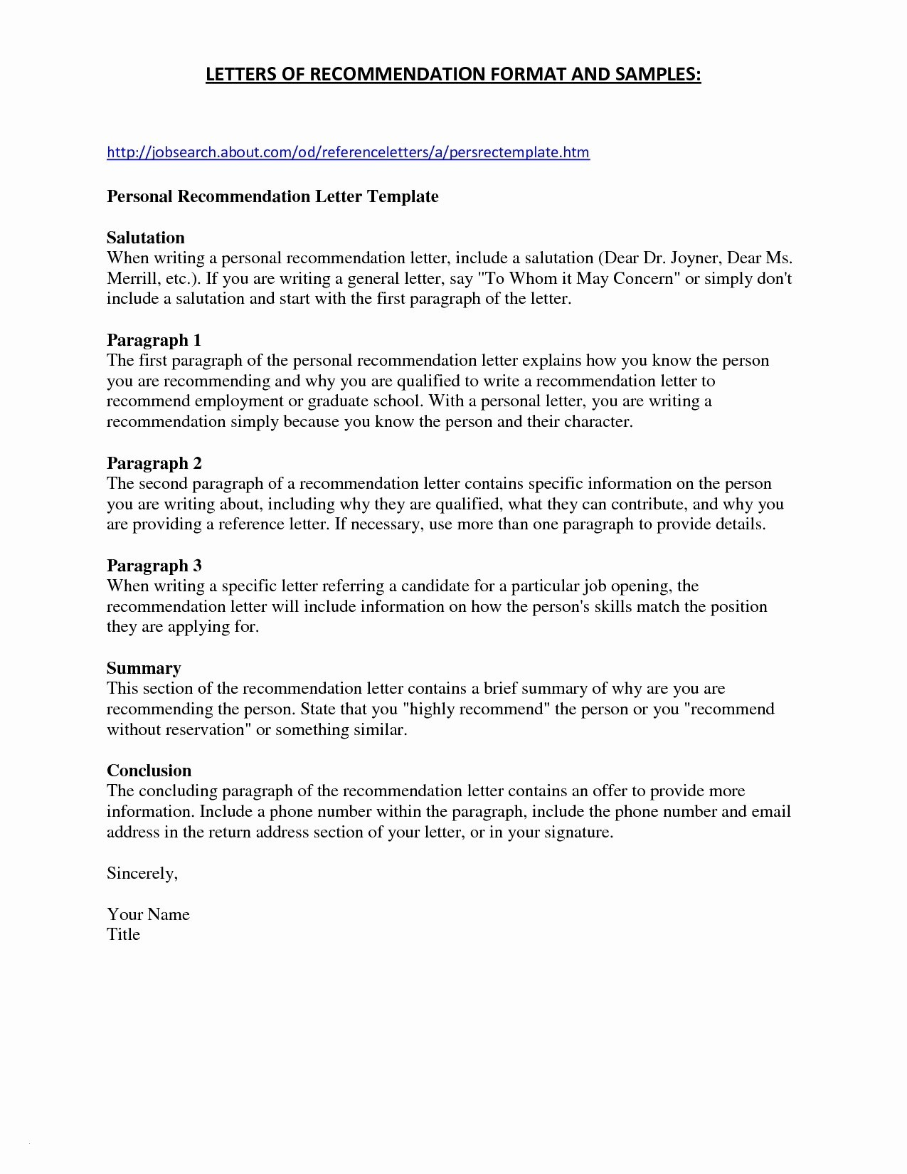 Microsoft Word Letter Of Recommendation Template - Job Re Mendation Letter Best Bination Resume formats Unique Resume