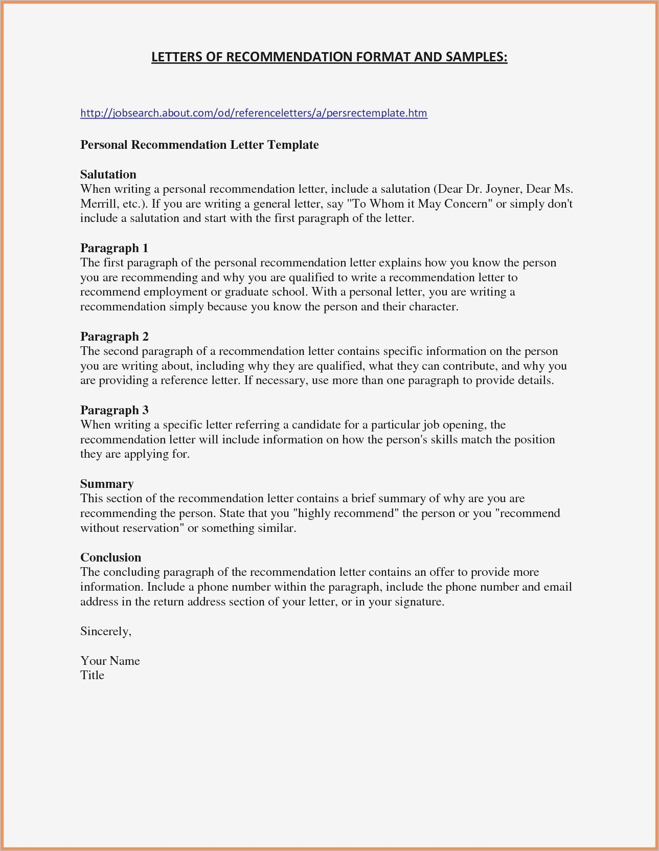 Basic Recommendation Letter Template Collection Letter Cover Templates