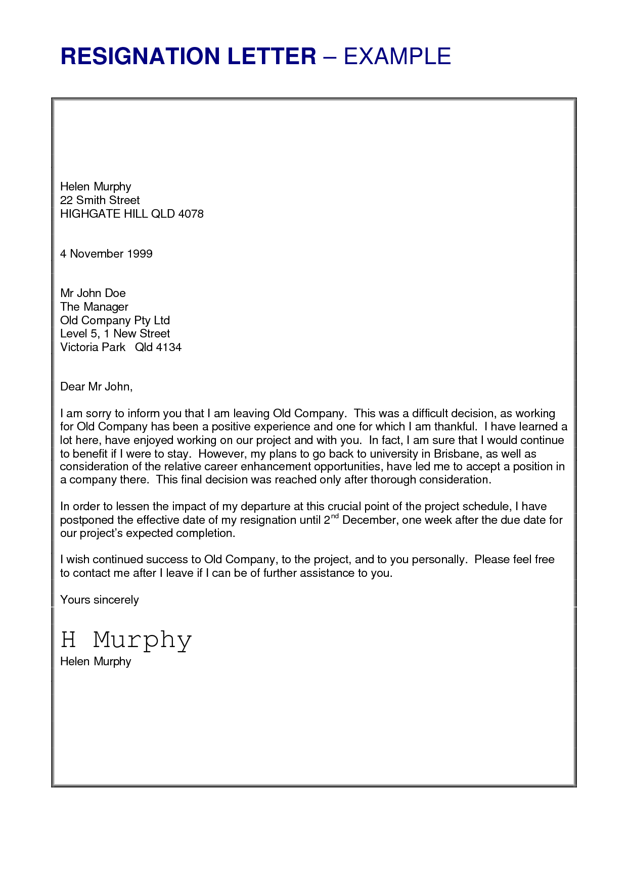 Resignation Letter Template Free Download Collection | Letter Cover ...