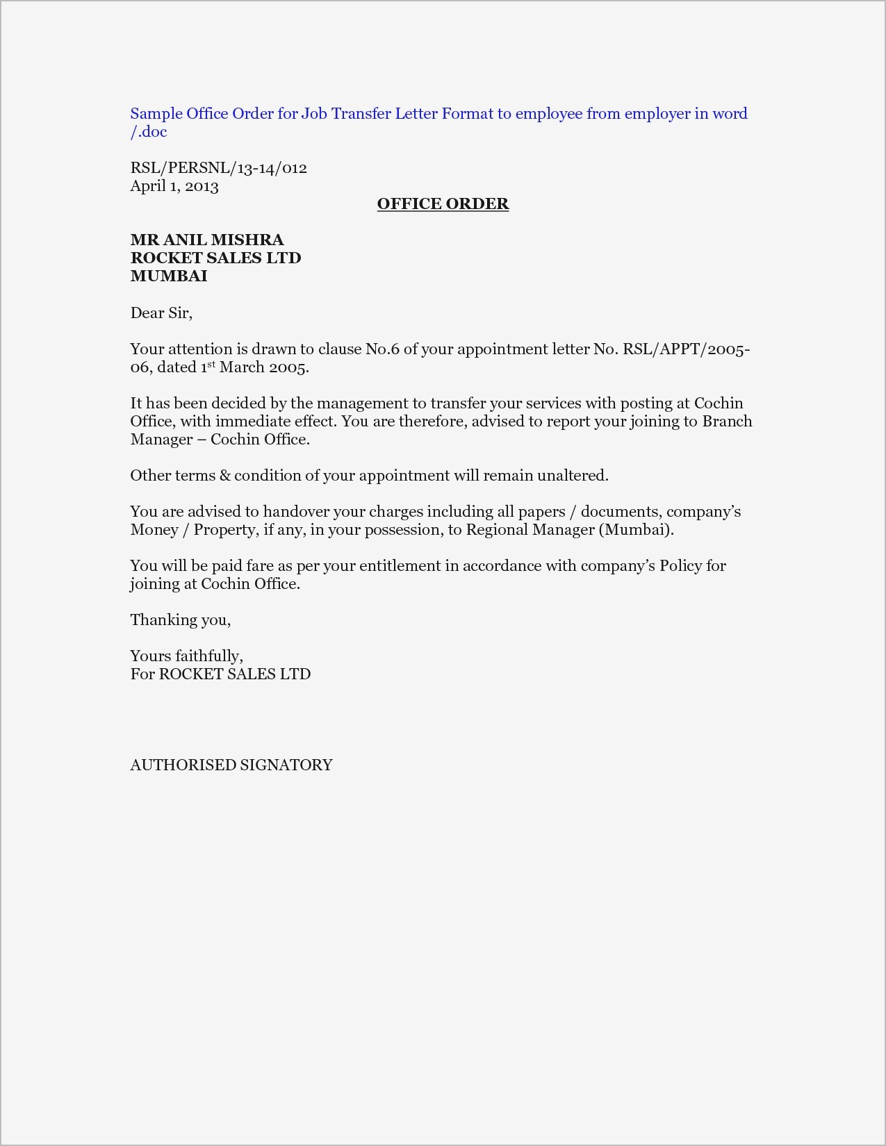Transfer Letter Template Examples Letter Cover Templates