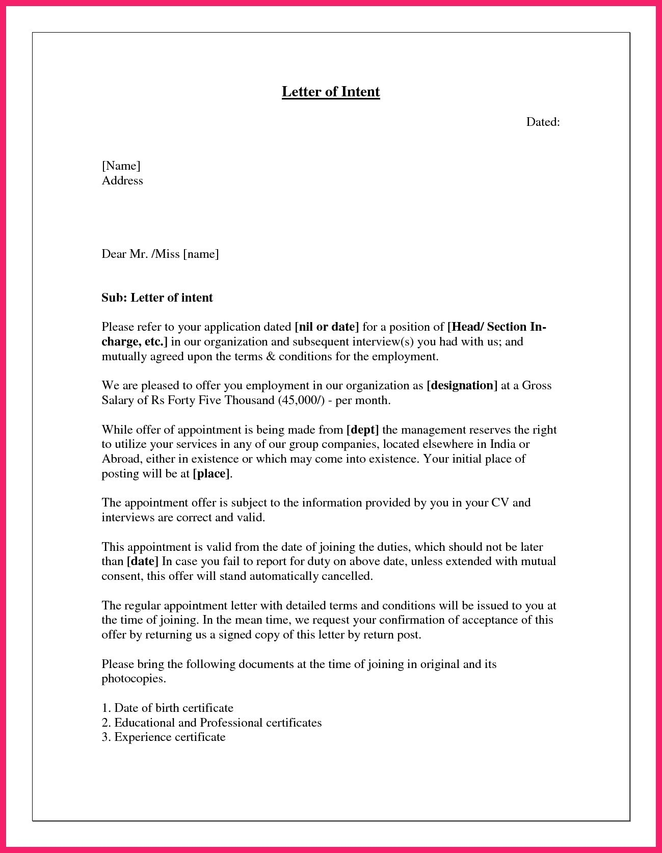 Real Estate Offer Letter Template Free - Joining Letter format In Ms Word Fresh Sales Fer Letter Home Aide