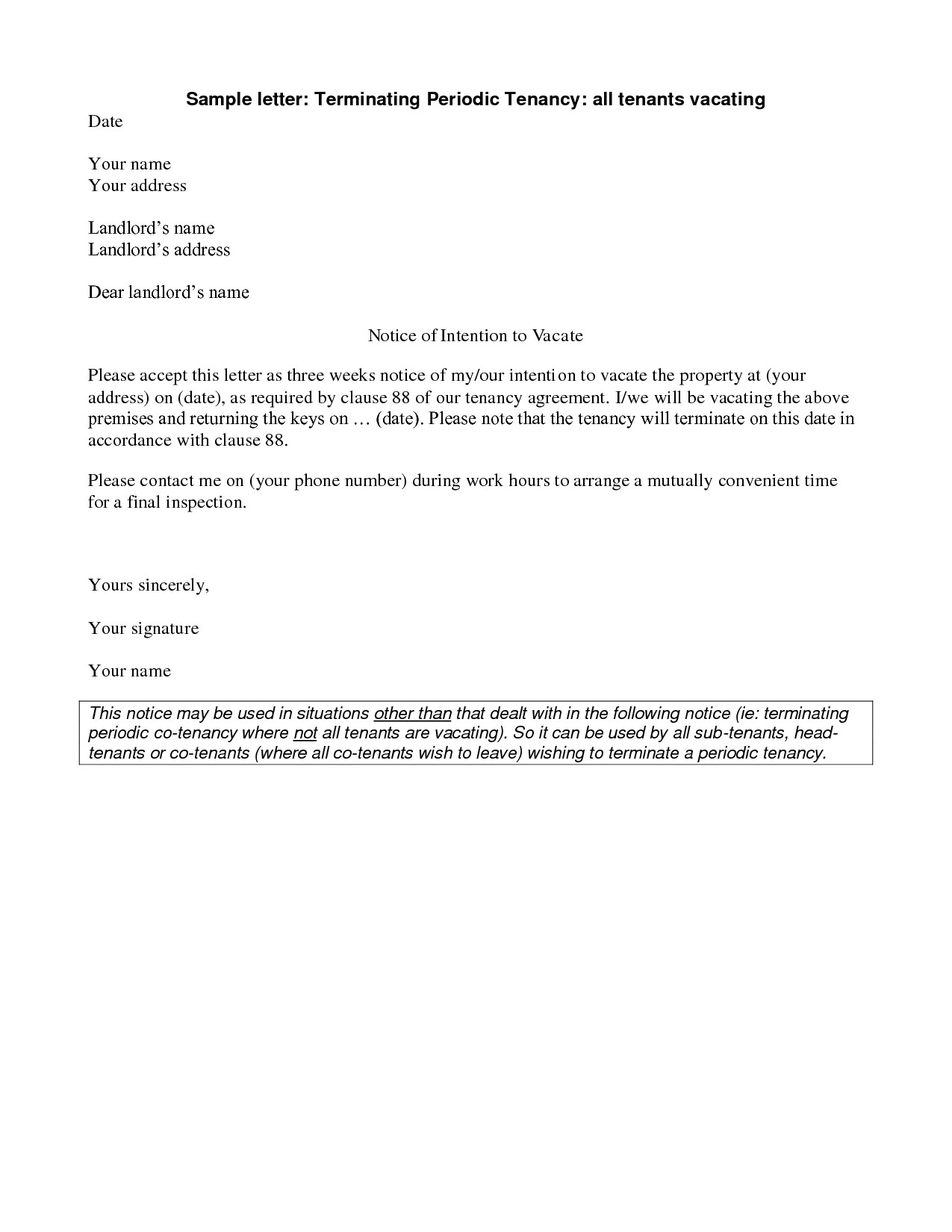 Giving Notice to Tenants Letter Template - Landlord End Tenancy Letter Template