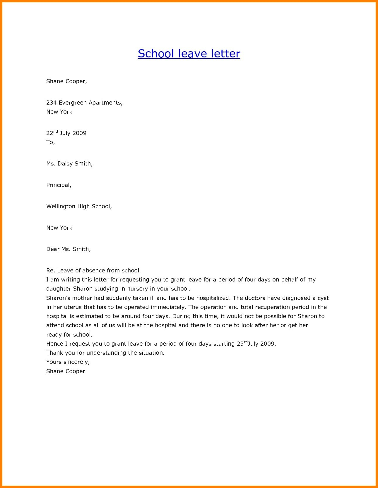 Personal Leave Of Absence Letter Template Examples Letter Cover
