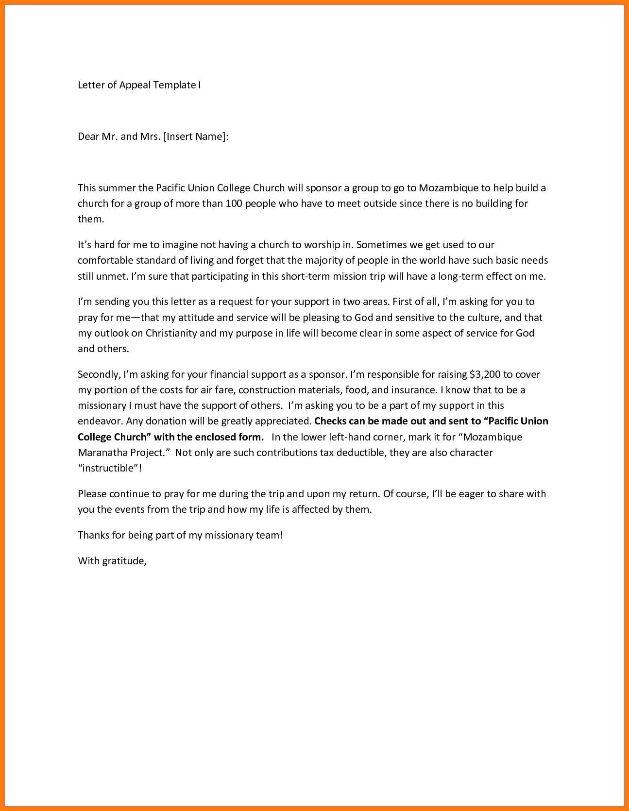 Missionary Prayer Letter Template - Legal Appeal Letter format Fresh Appeal Letter format Scho Letter