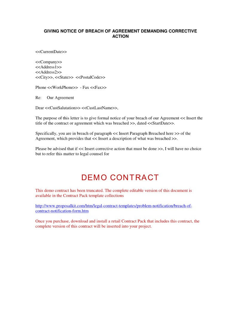 Notice Of Breach Of Contract Letter Template - Legal Demand Letter Breach Contract