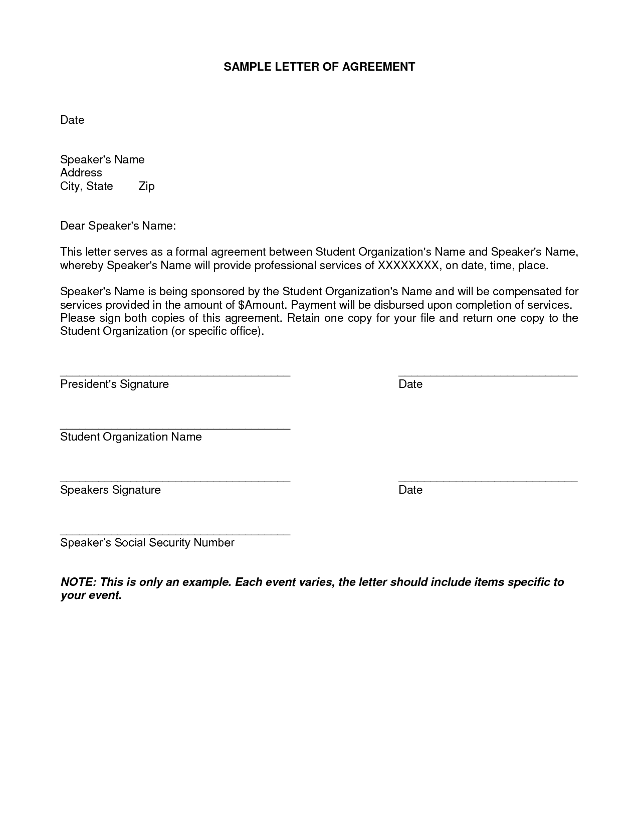 Settlement Agreement Letter Template - Letter Agreement Samples Template Seeabruzzo Letter Of