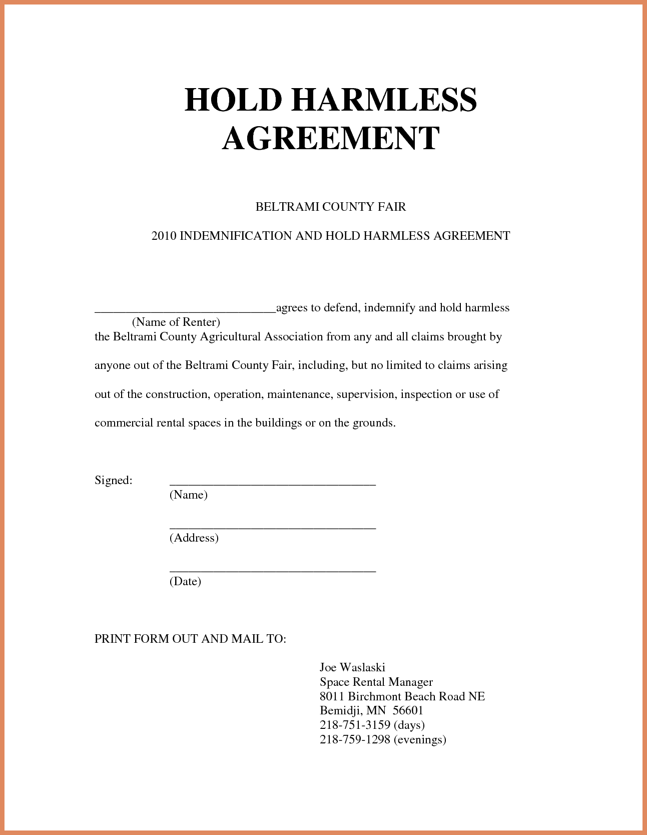 Hold Harmless Letter Template - Letter Agreement Template Non Disclosure Statement Template and