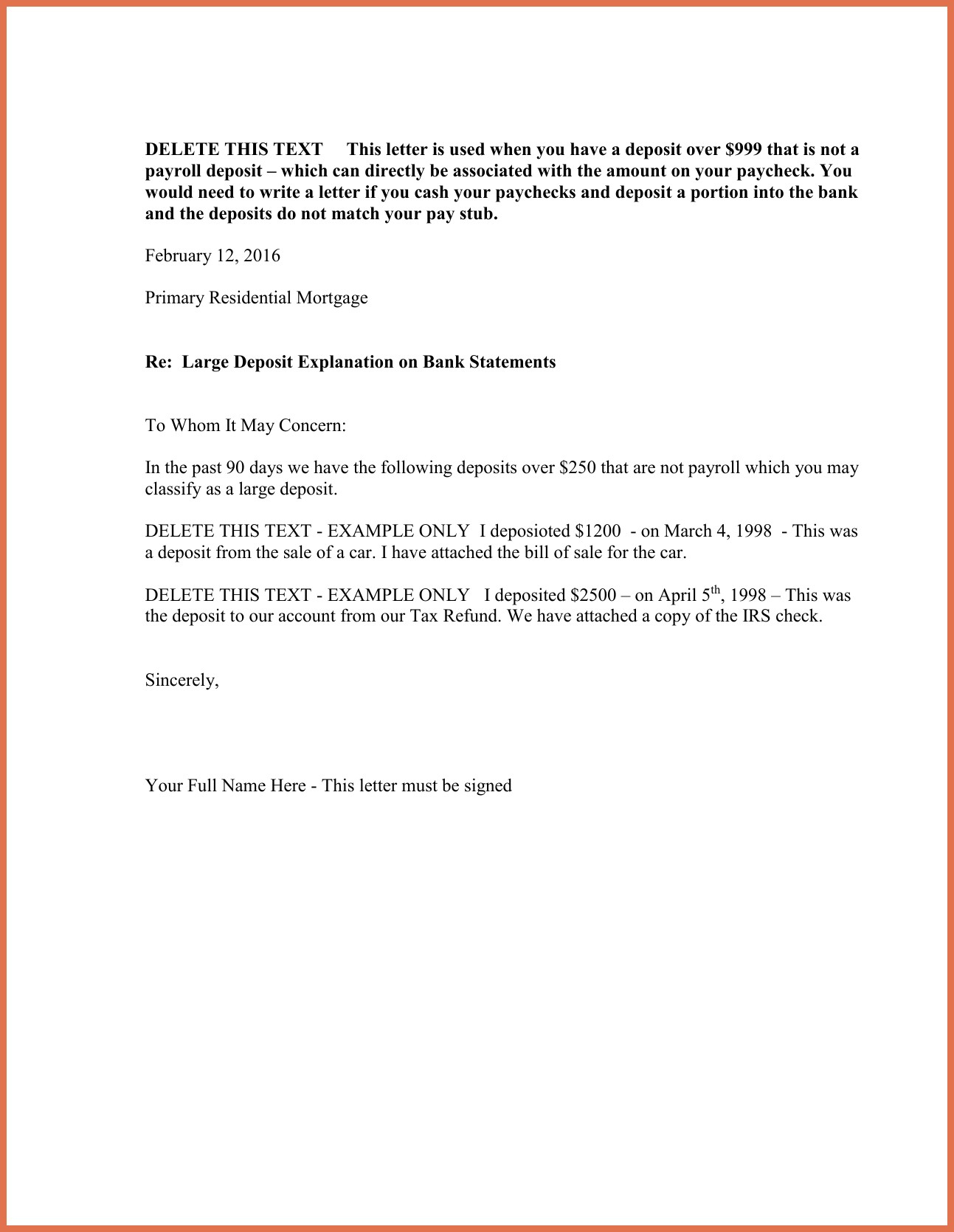 cash out refinance letter template