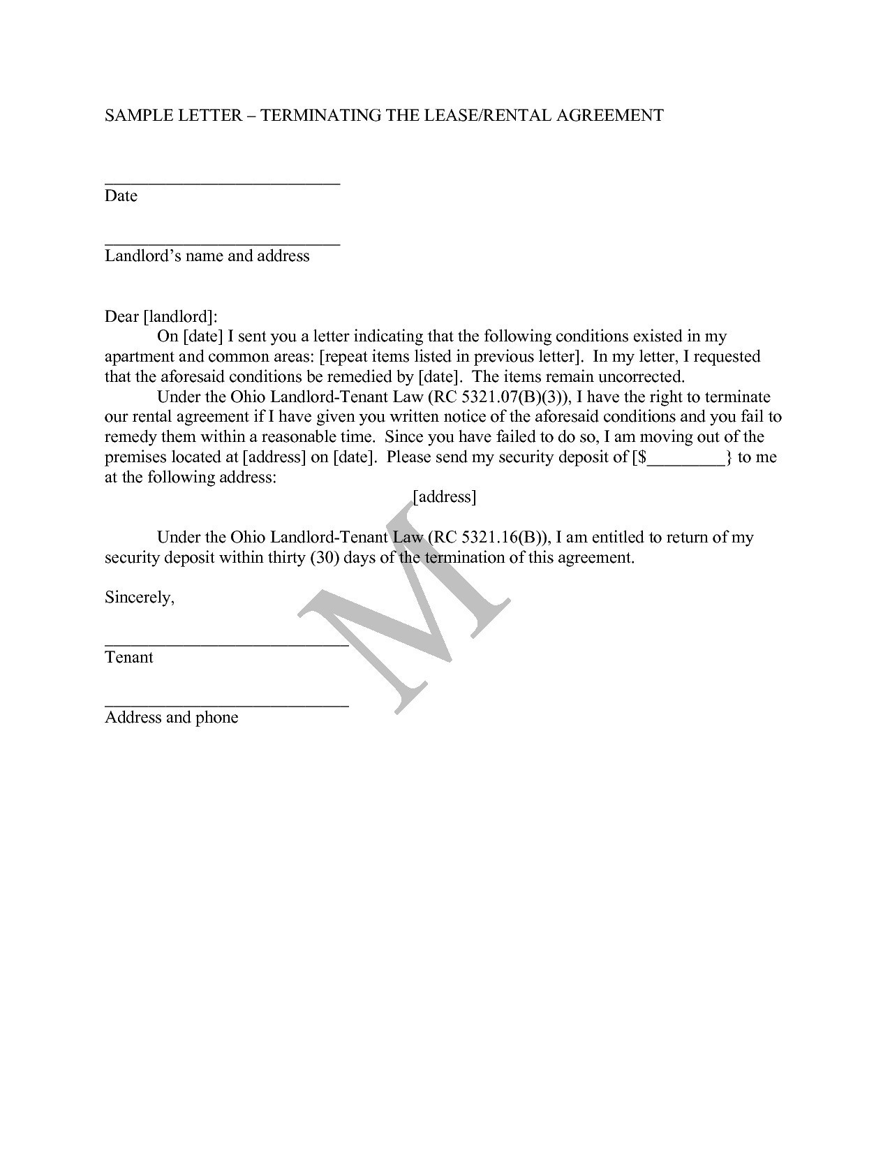 Rental Lease Termination Letter Template - Letter format for Agreement Termination Valid Letter format for