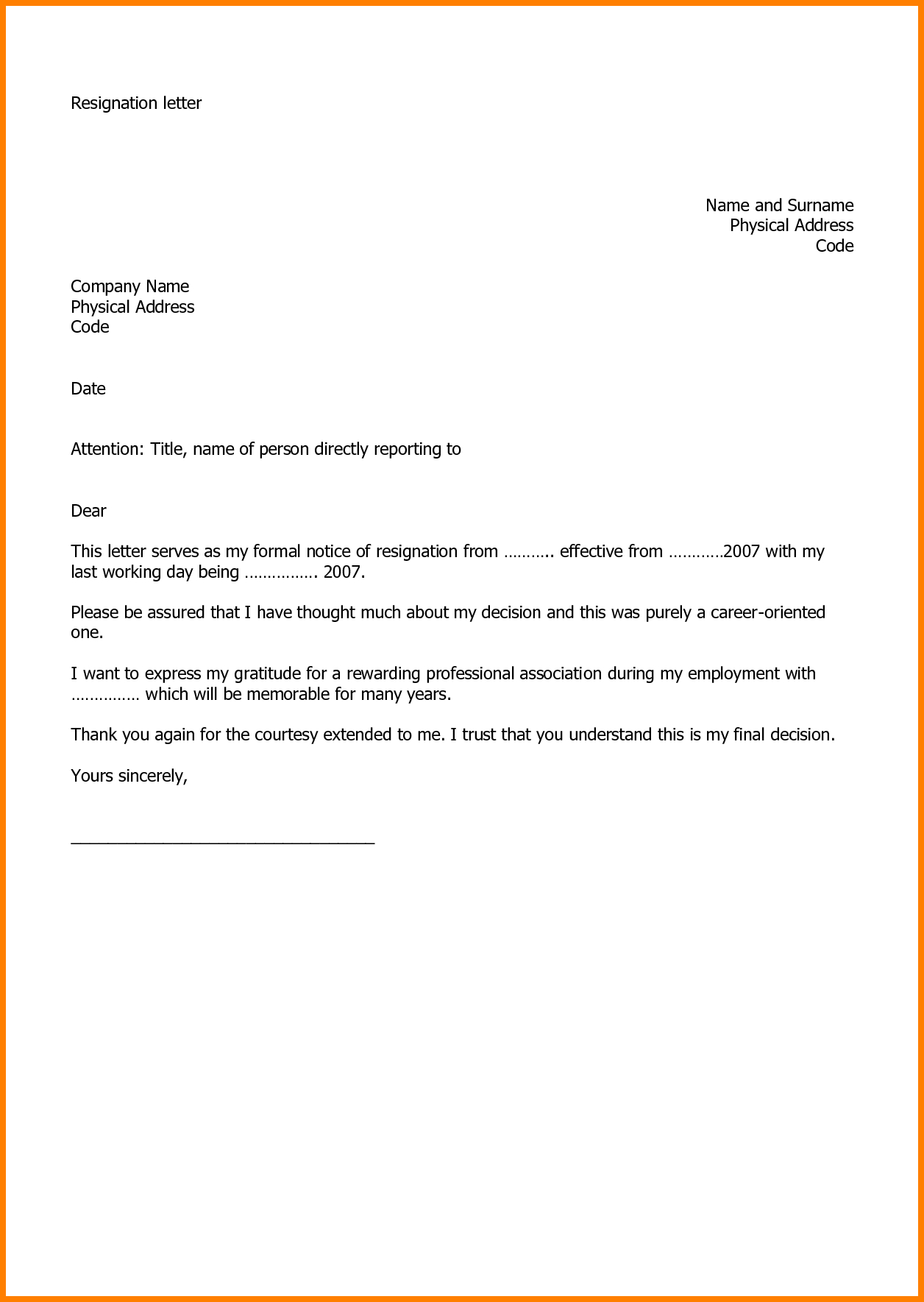 Letter Of Resignation Template Word 2007 - Letter format for Job Resignation Resignation Letter Example
