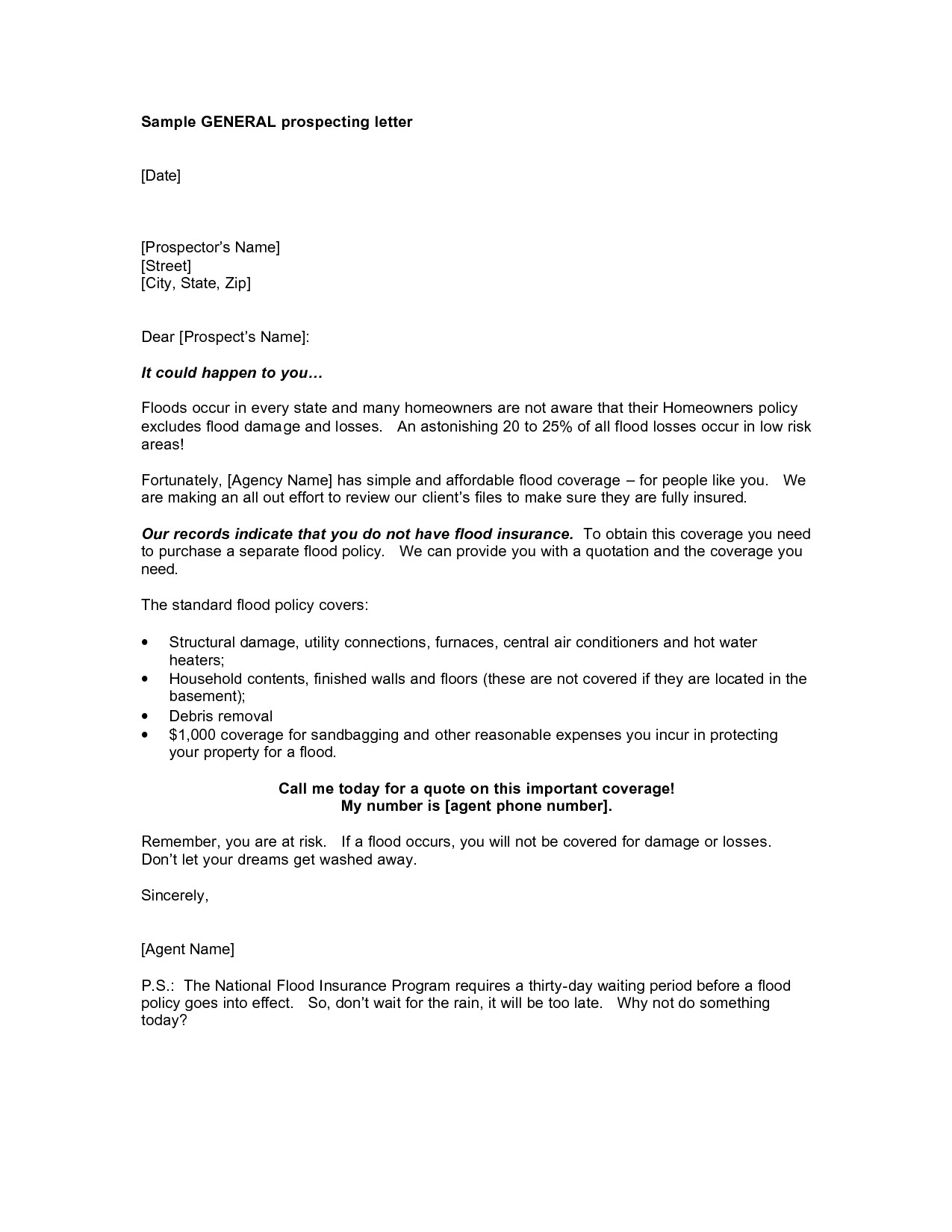 Commercial Real Estate Prospecting Letter Template - Letter format for Simple format Prospecting Letter Template