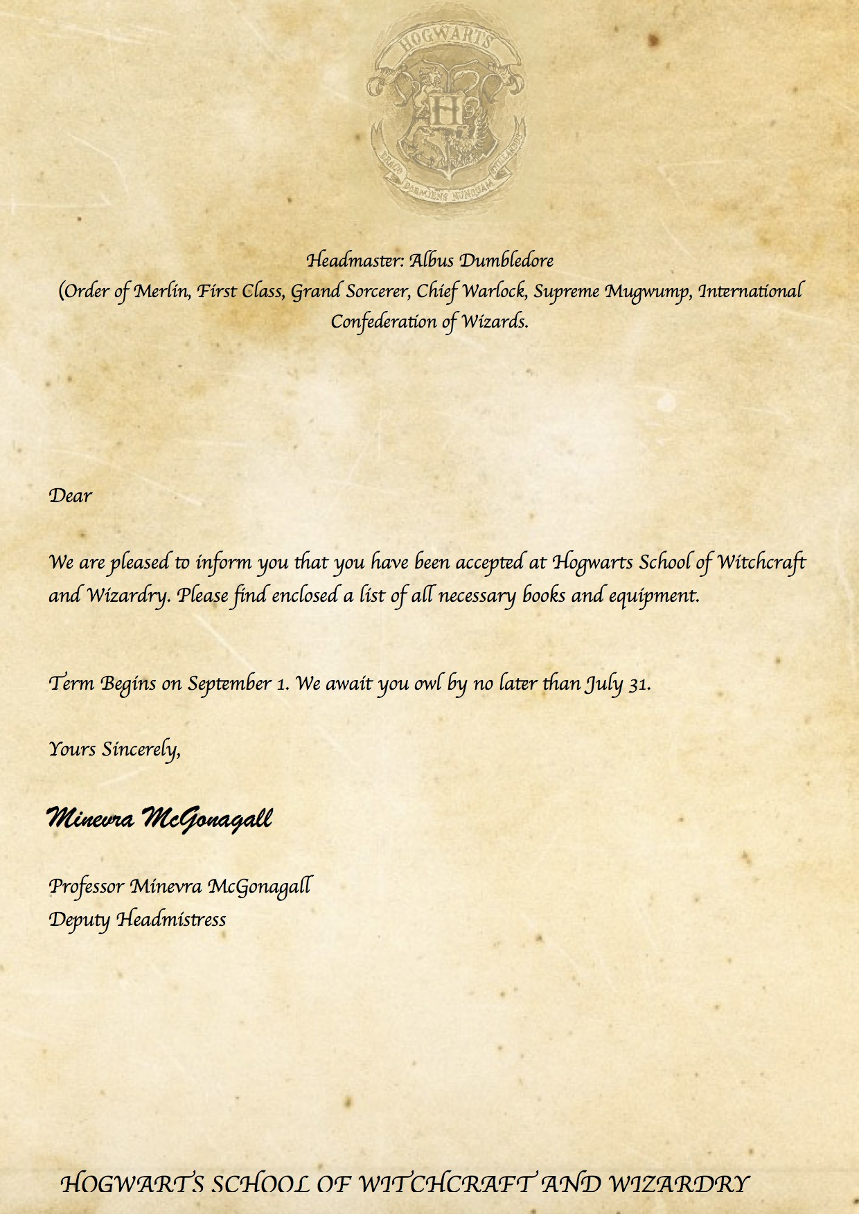 It is a graphic of Eloquent Free Printable Hogwarts Acceptance Letter