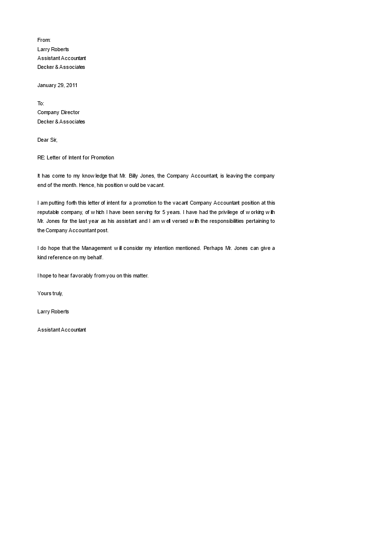 Free Letter Of Intent for A Job Template - Letter Intent for Job Promotion within Inspirations