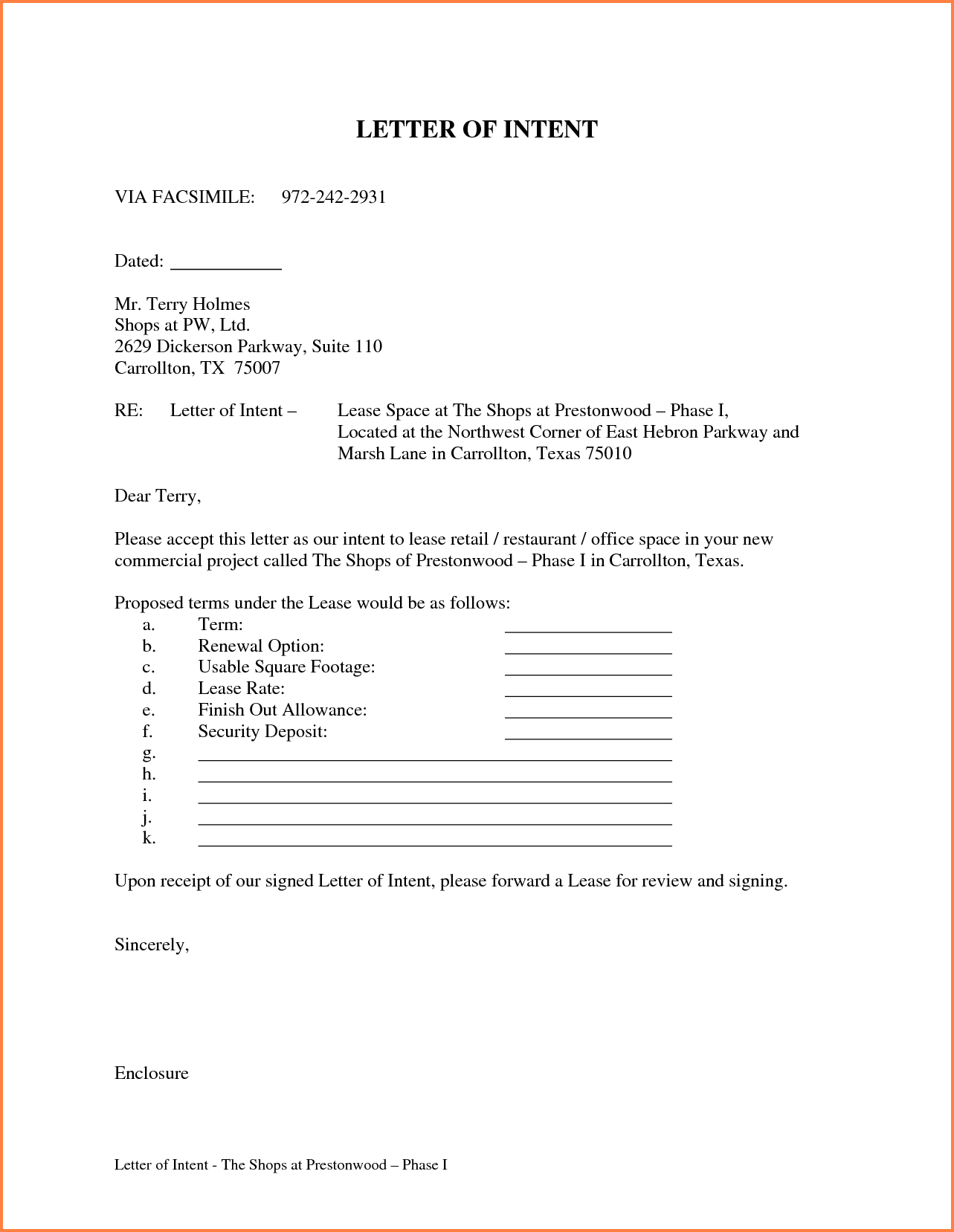 Letter Of Intent to Rent Template - Letter Intent for Lease Template Awesome Letter Intent for