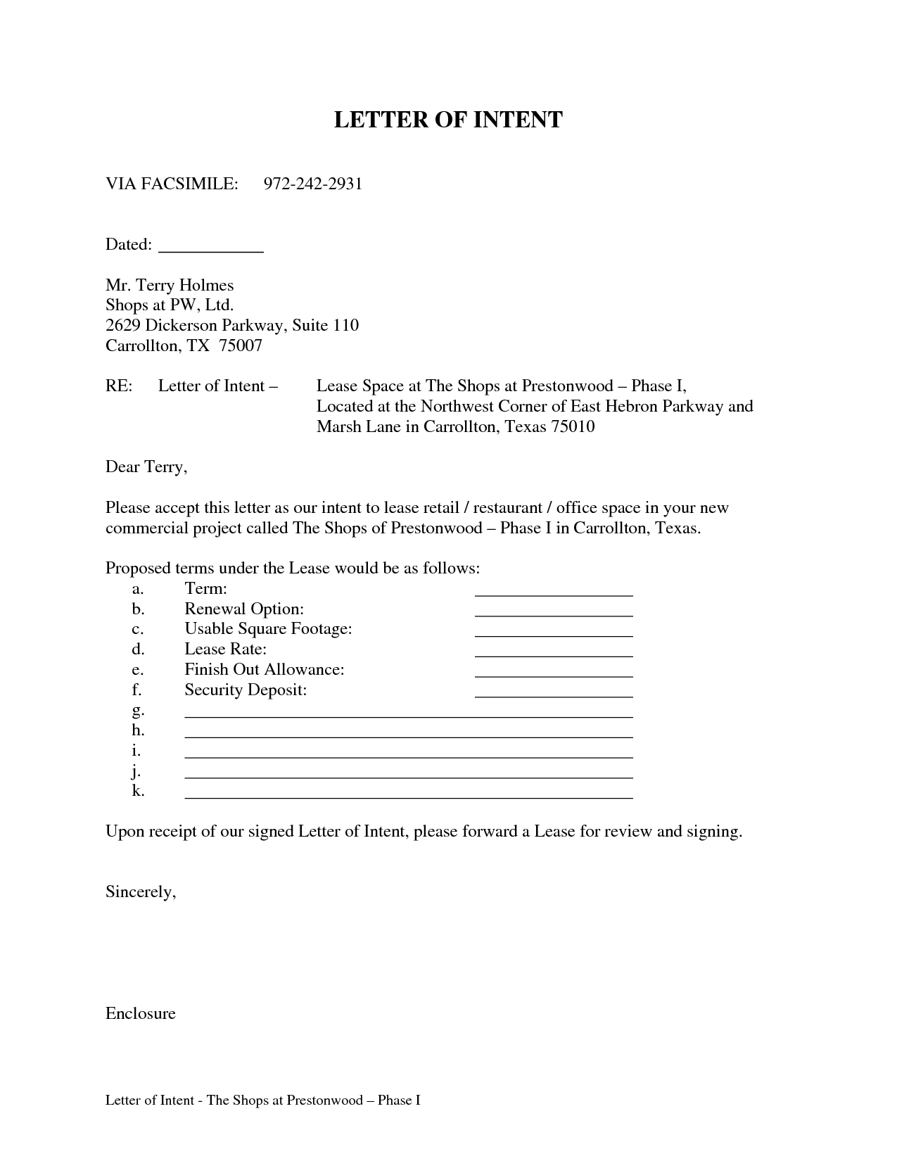 Letter Of Intent to Lease Commercial Property Template - Letter Intent for  Mercial Lease Sample Real