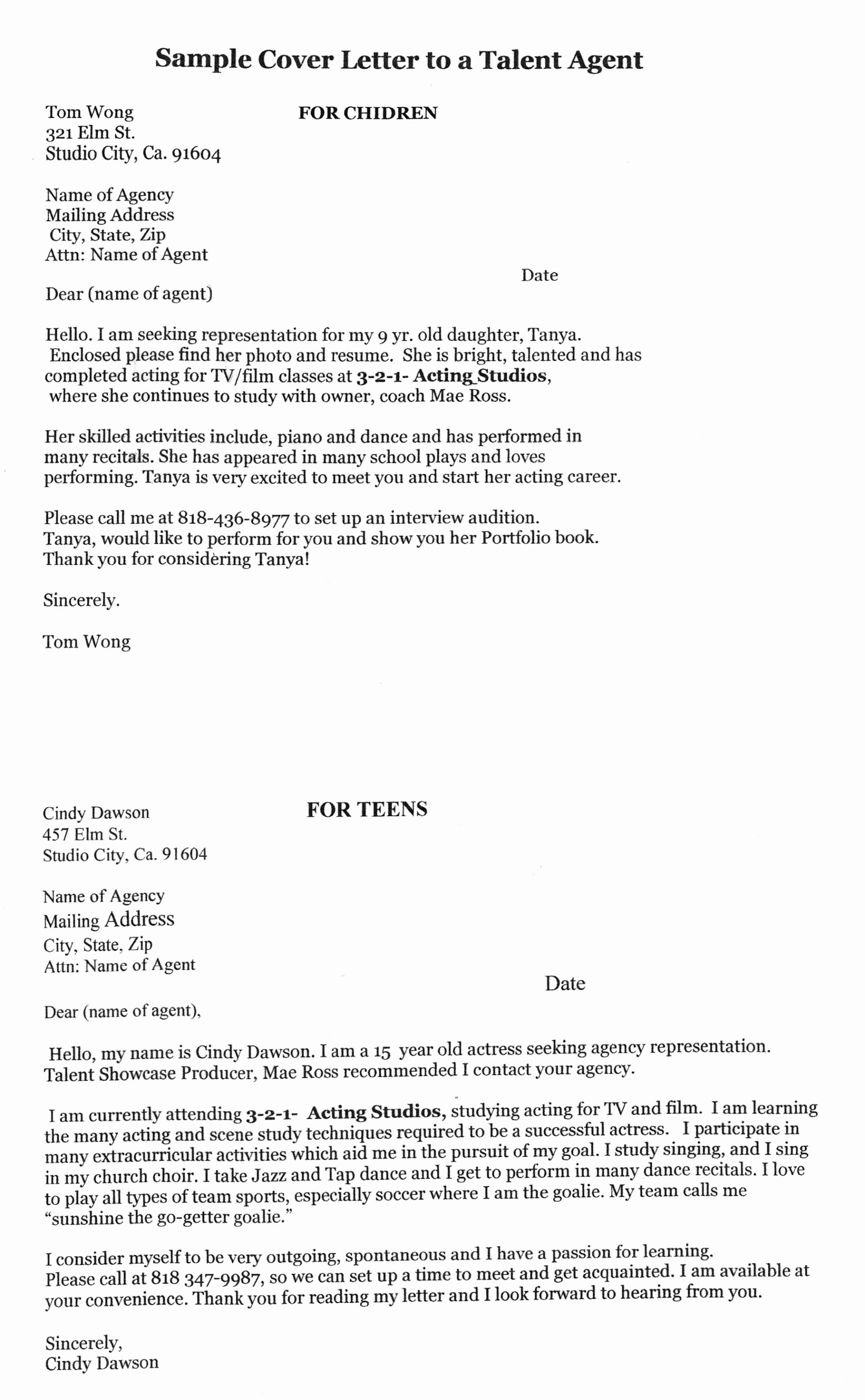 actor letter of intent template collection