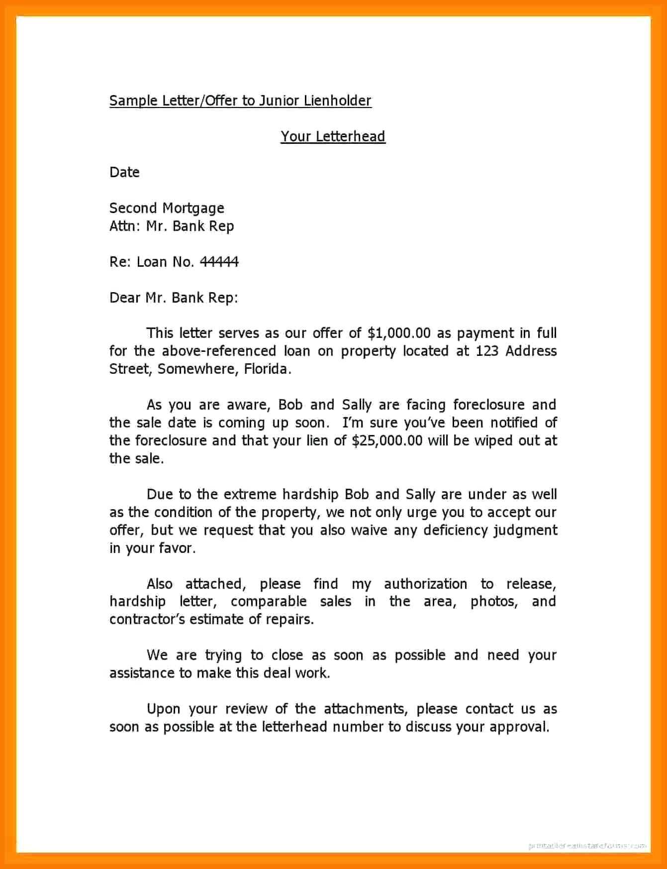 Notice Of Lien Letter Template - Letter Intent Lien Template Authorization From Holder Home Fer