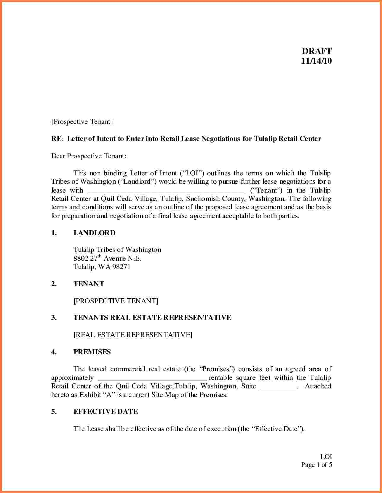 Letter Of Intent to Lease Commercial Space Template - Letter Intent Real  Estate Lease Example Restaurant