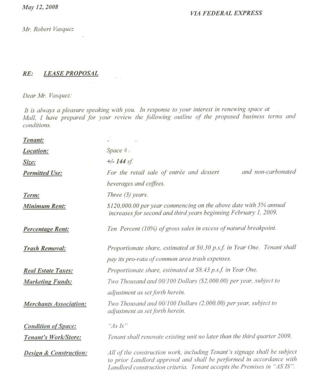Commercial Lease Letter Of Intent Template - Letter Intent Real Estate Lease Hd to Mercial Property