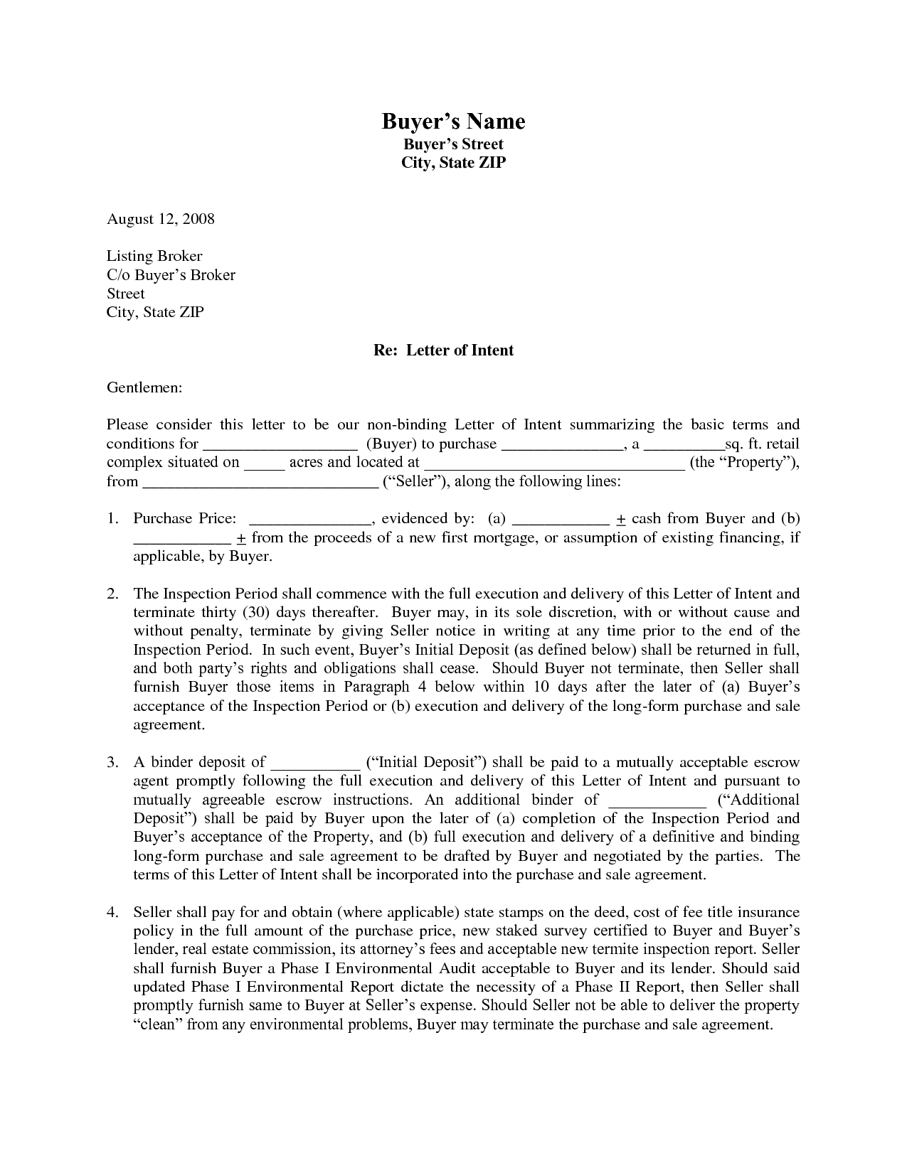 Letter Of Intent to Sell House Template - Letter Intent Sample to Sell Property Template Examples