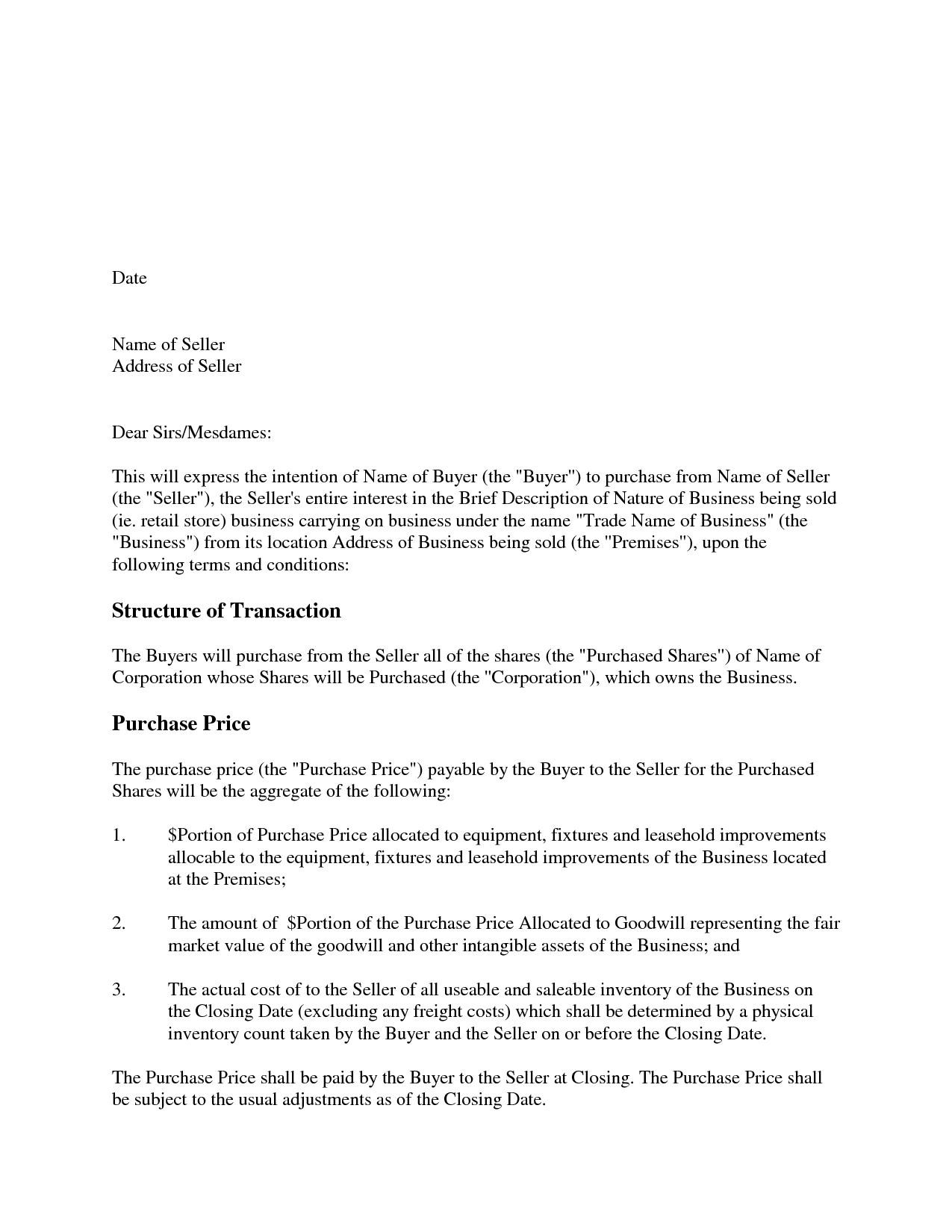 Letter of intent to purchase shares template examples for Letter of intent to buy a business template