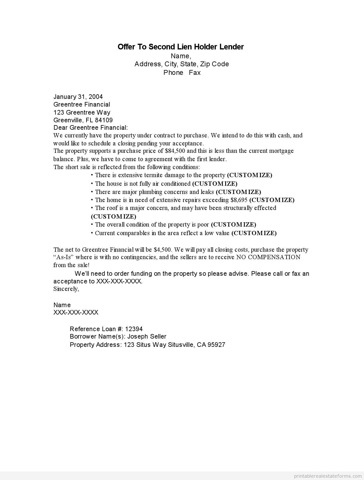 notice of lien letter template example-Letter Intent To Lien Sample Printable fer Second Holder Lender Form Notice Texas 11-n