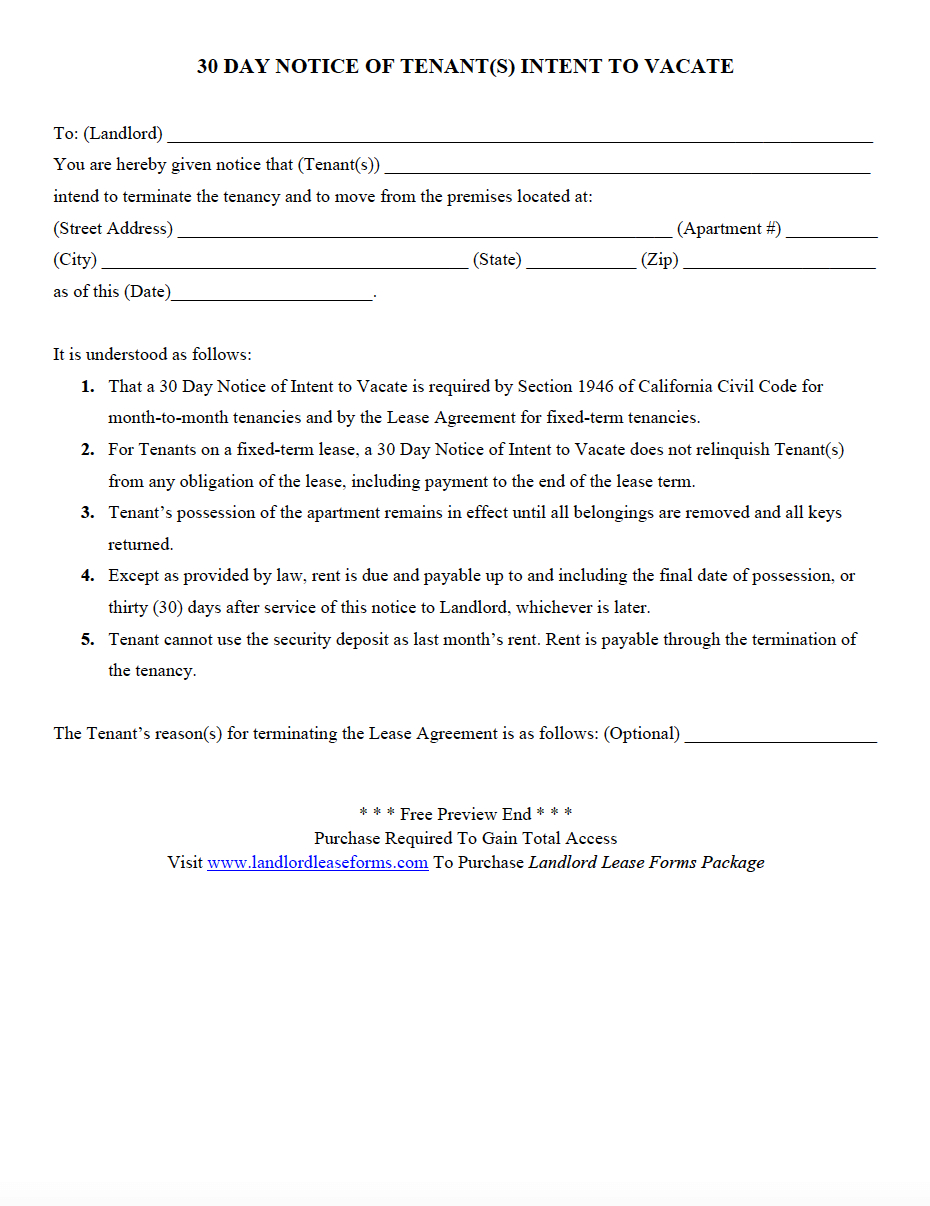 Landlord Notice Letter to Tenant Template - Letter Intent to Move Out Notice Landlord Moving Apartment Vacate