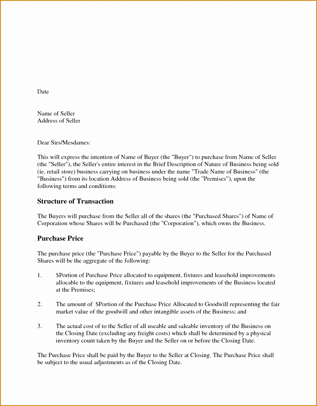 Letter Of Intent to Purchase Equipment Template - Letter Intent to Purchase Equipment High Resolution