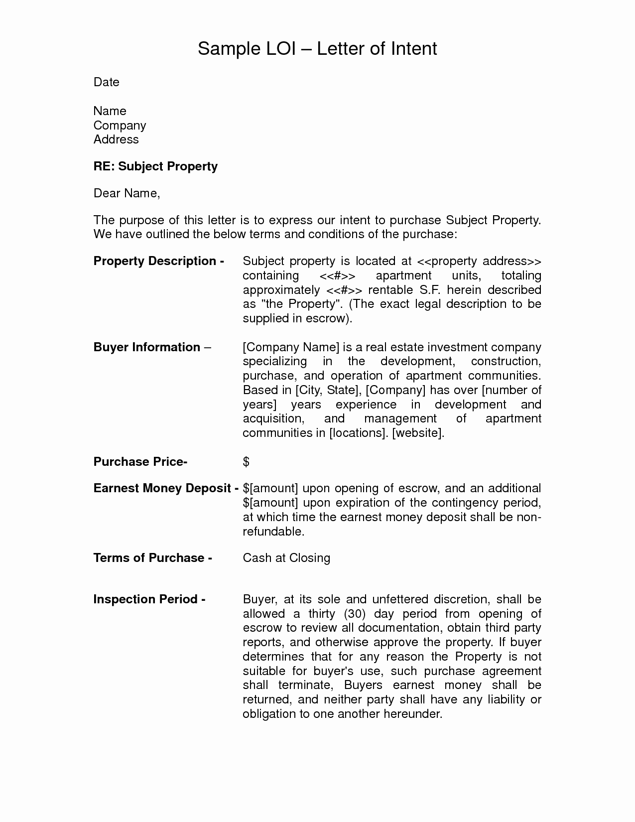 Letter Of Intent to Purchase Real Estate Template - Letter Intent to Purchase  Property Template Beautiful