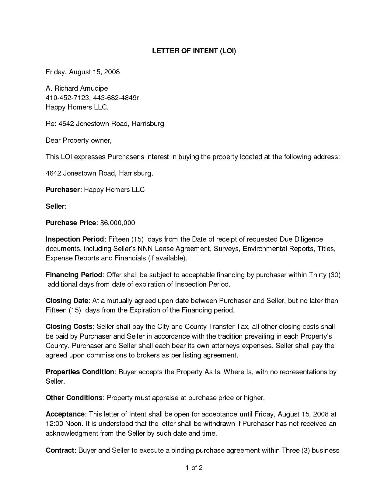 Letter Of Intent to Purchase Template - Letter Intent to Purchase Template Agreement Real Estate