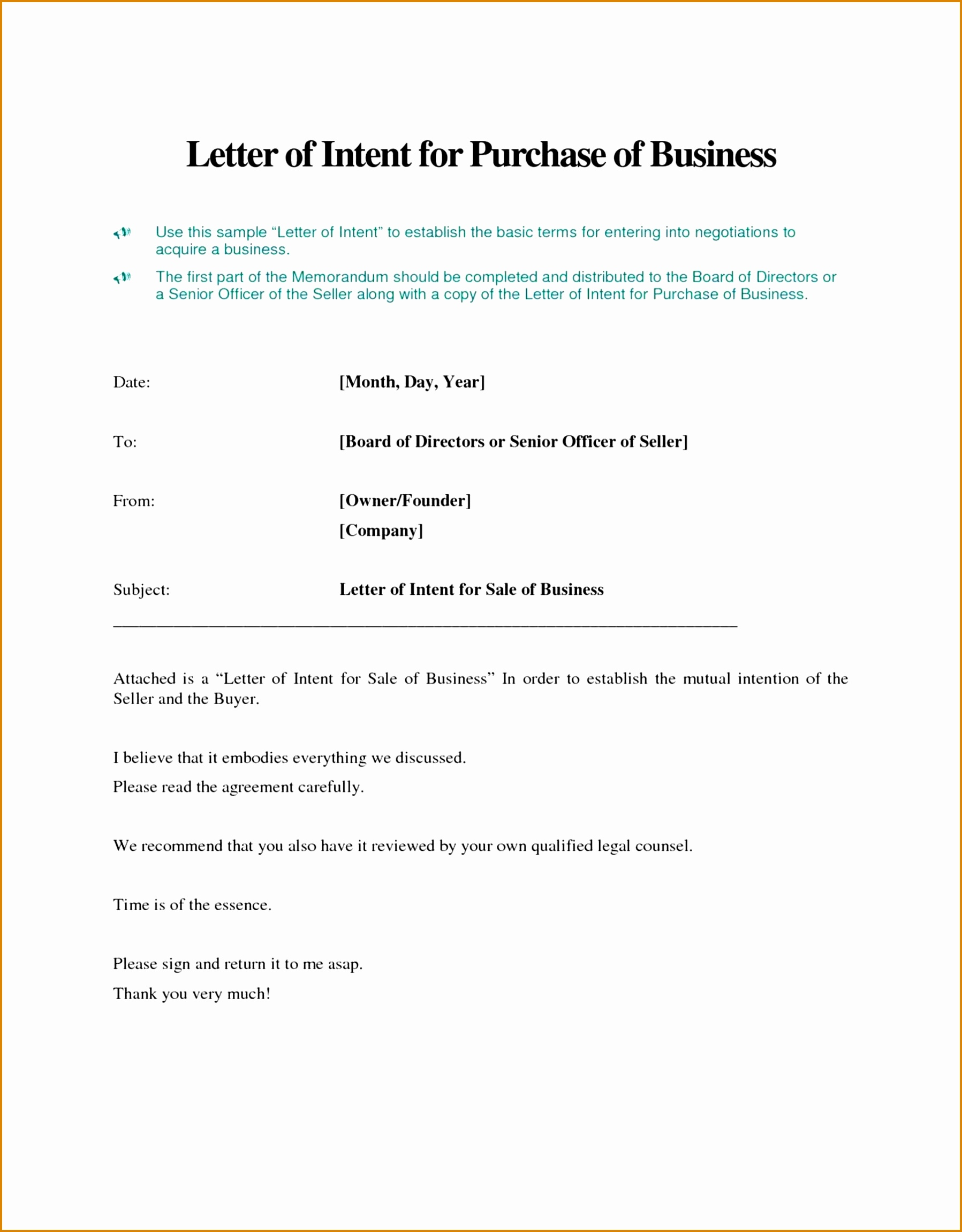 Land Purchase Offer Letter Template - Letter Intent to Sell Ideas How Write Business House