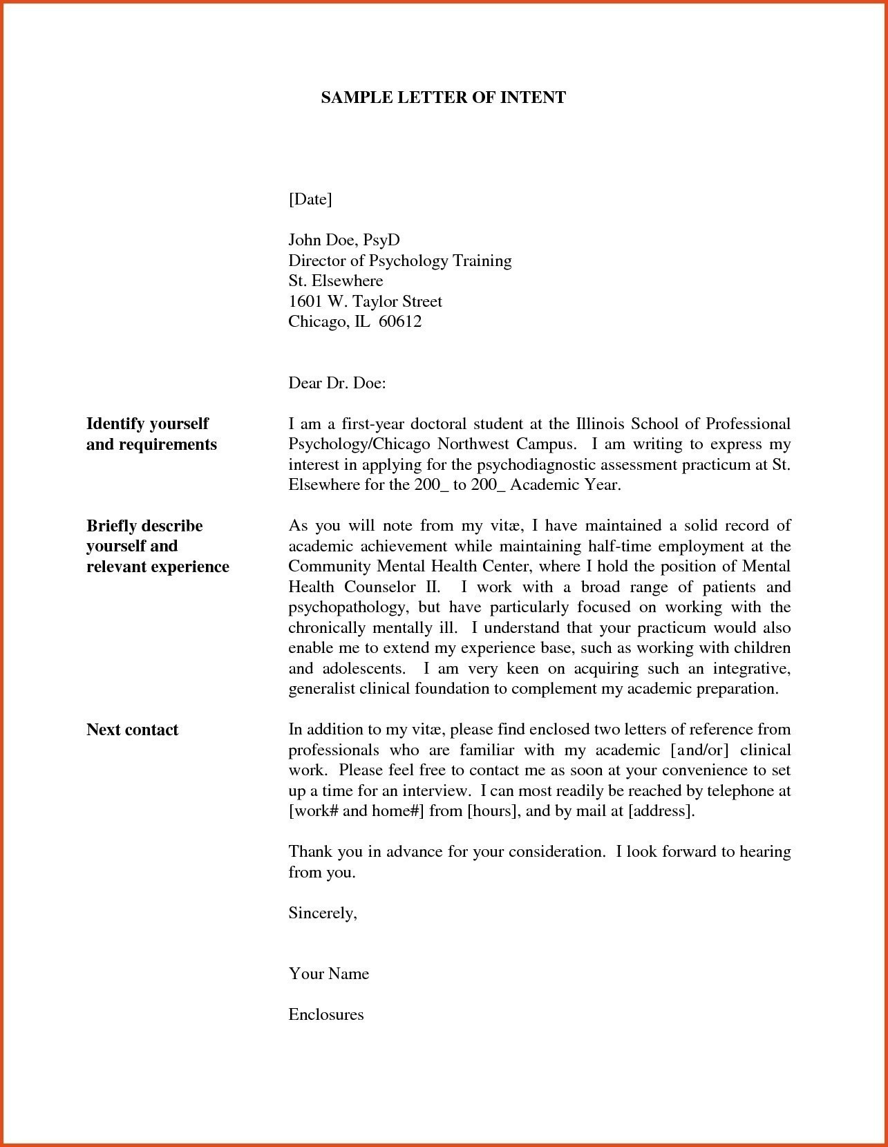 Free Letter Of Intent for A Job Template - Letter Intention Job New Letter Intent Template Job New