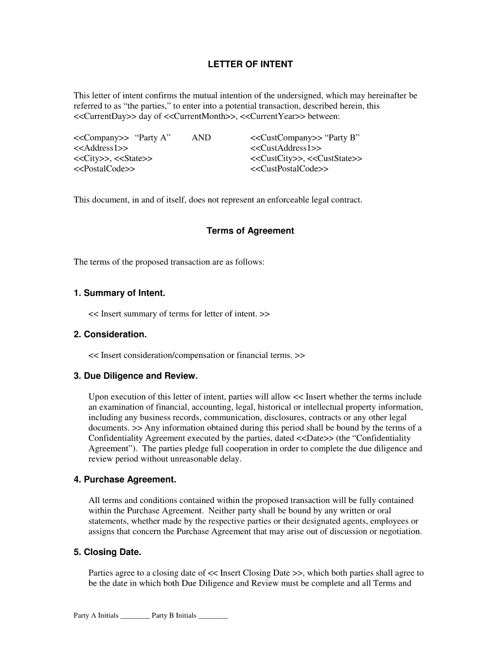 Subcontractor Letter Of Intent Template - Letter Of Intent Agreement the Letter Of Intent Agreement is