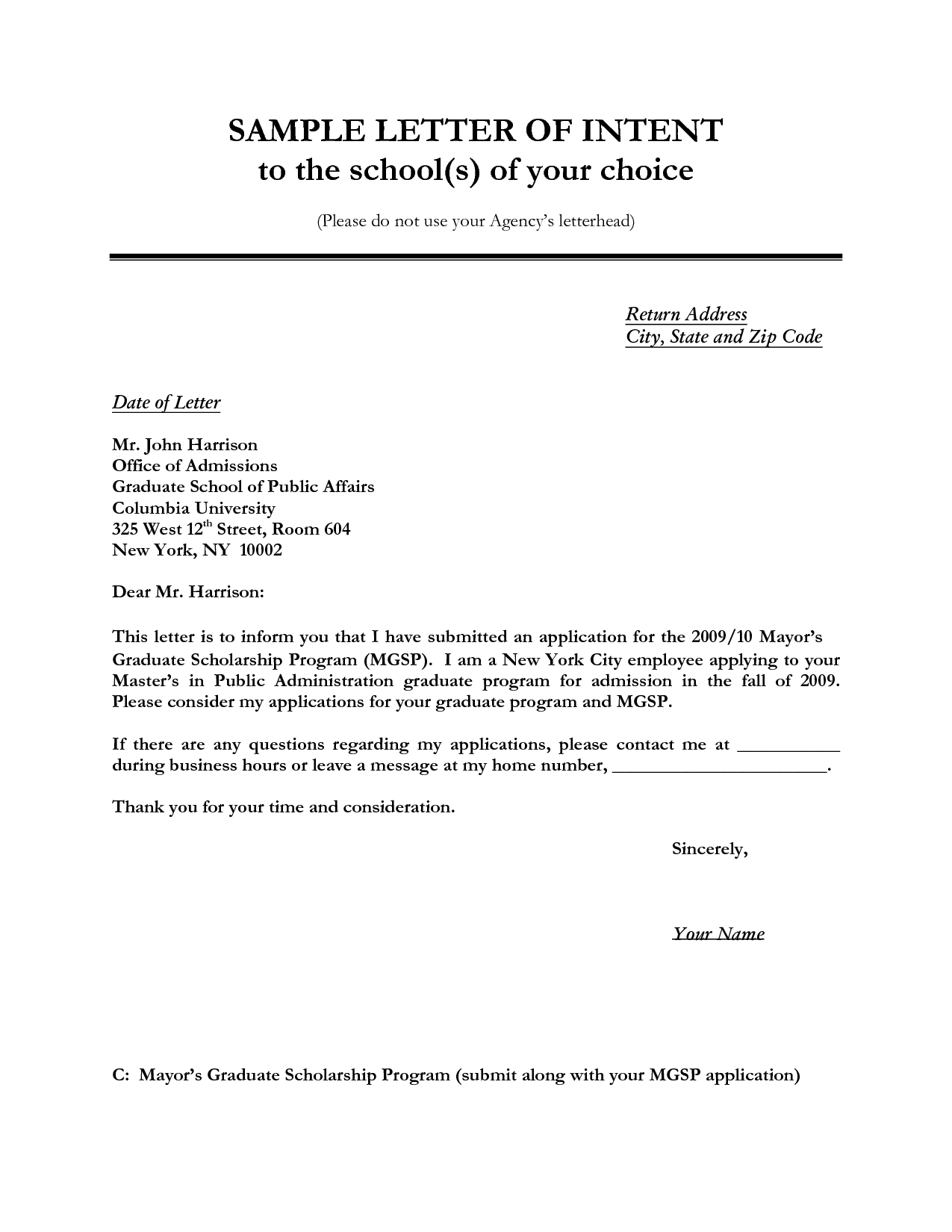 Notice Of Intent to Vacate Letter Template - Letter Of Intent Sample