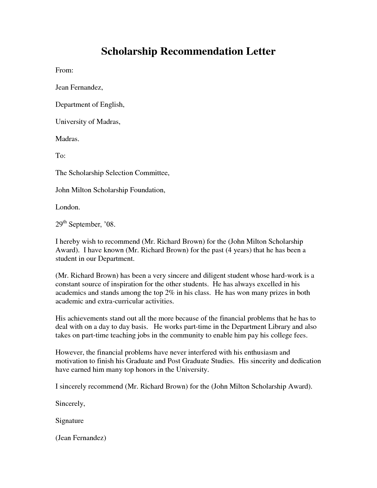 Template for Writing A Letter Of Recommendation for A Scholarship - Letter Of Re Mendation Graduate School format Acurnamedia