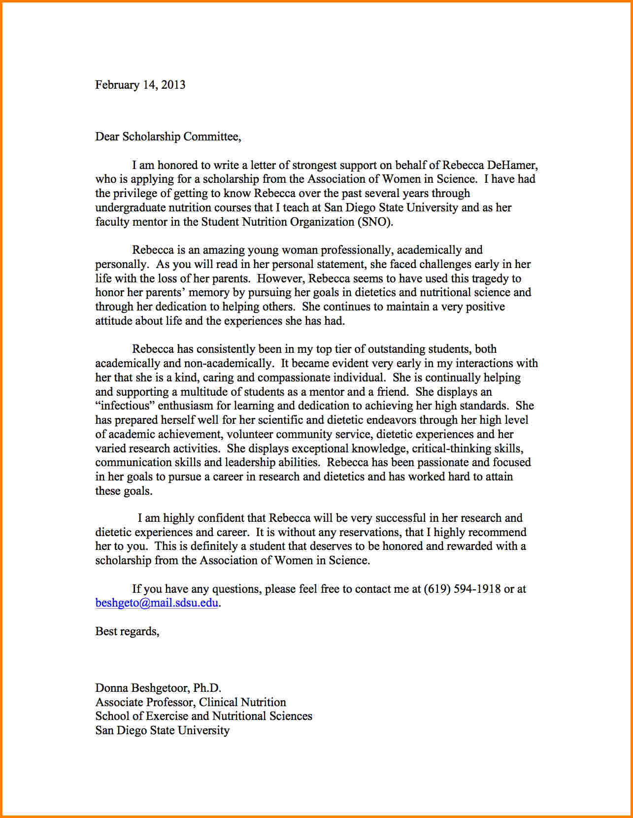Scholarship Reference Letter Template - Letter Re Mendation for College Scholarship Pdf format