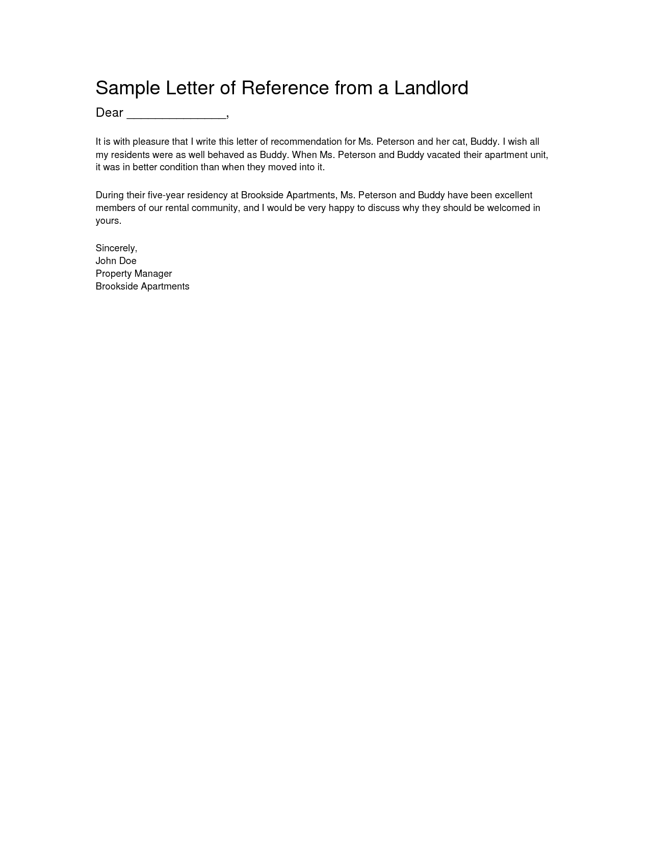 Tenant Reference Letter Template - Letter Re Mendation From Landlord Letter Of Re Mendation
