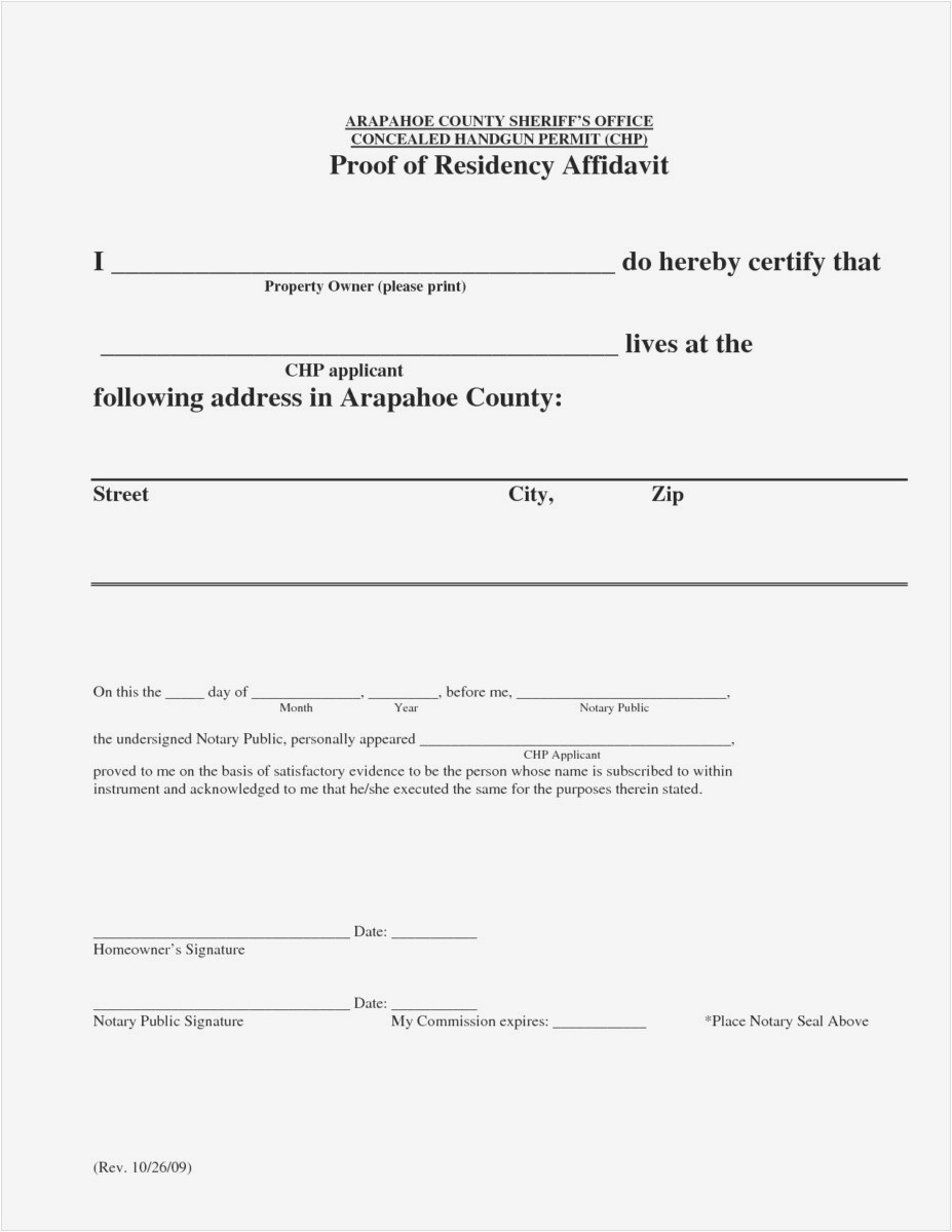 Proof Of Residency Letter Notarized Template - Letter Residency Ideas Printable Notarized Letter Residency