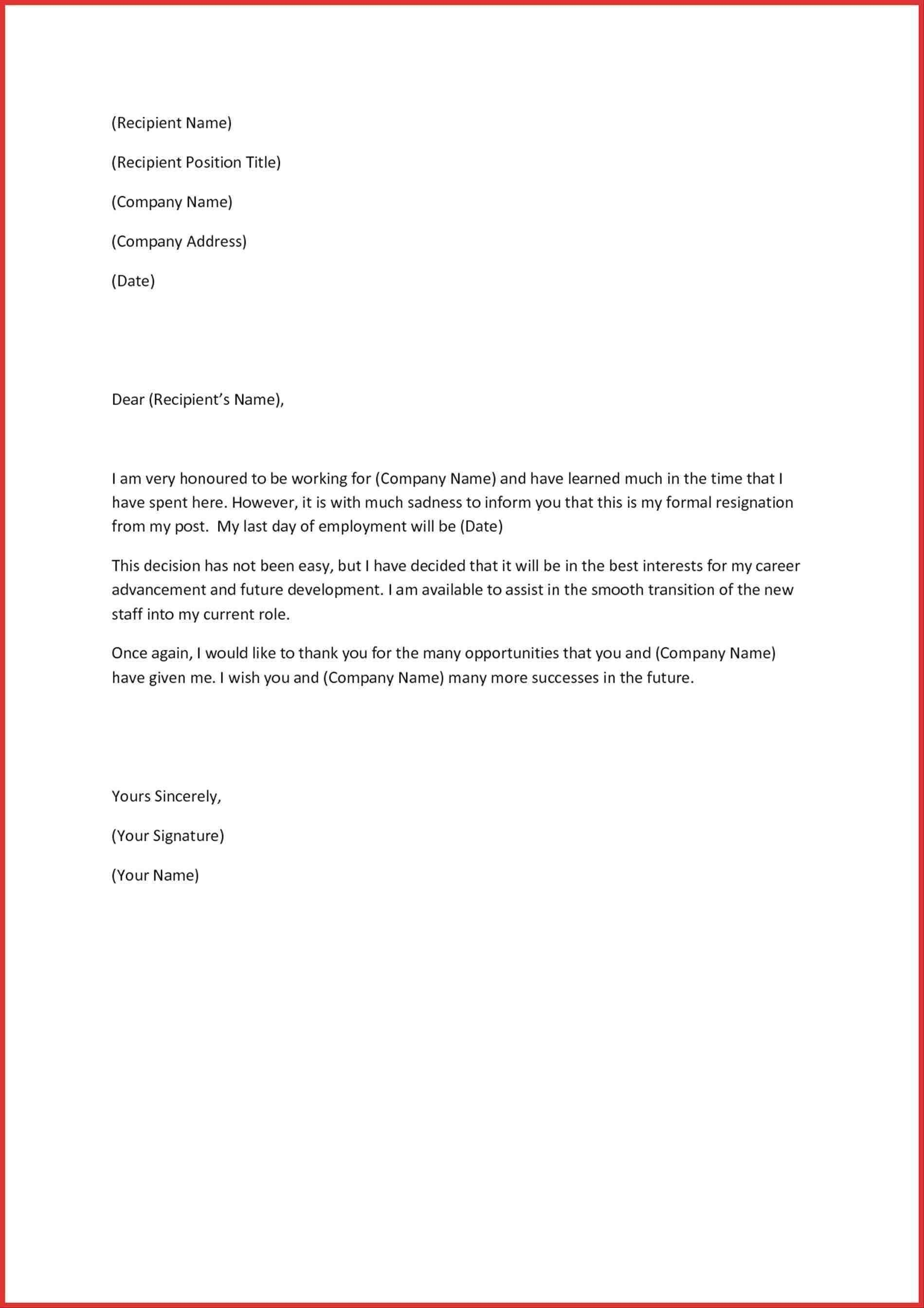 Official Letter Of Resignation Template - Letter Resignation Singapore format New format Resignation Letter