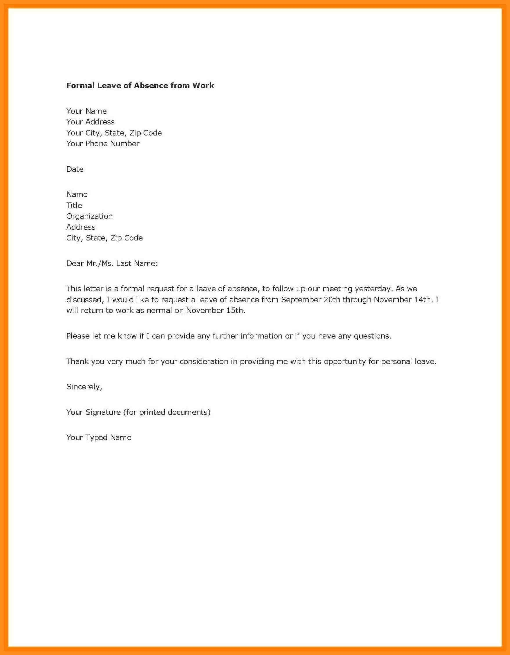 Personal Leave Of Absence Letter Template - Letter Template Archives Best Maternity Leave Letter format Doc
