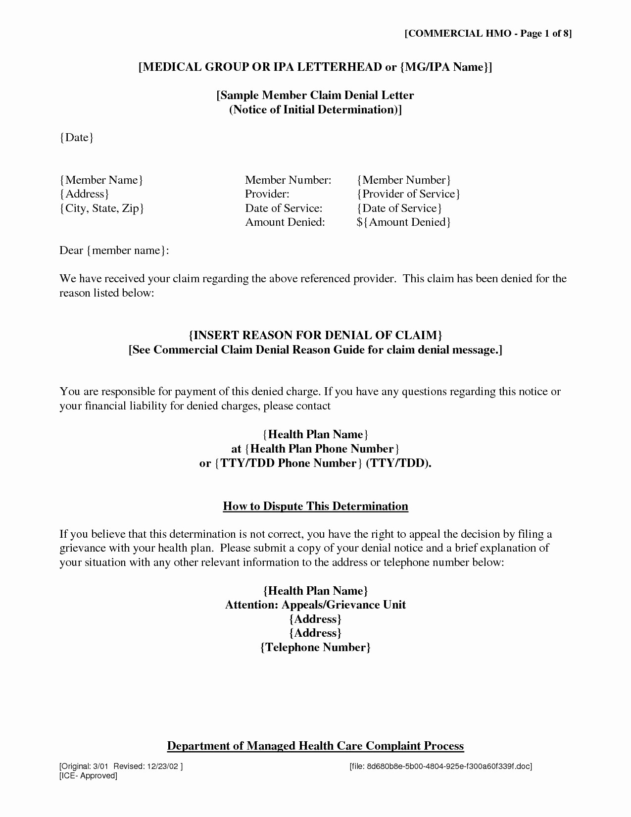Insurance Denial Letter Template - Letter Template for Ppi Claim Copy Gallery Title Insurance Claim