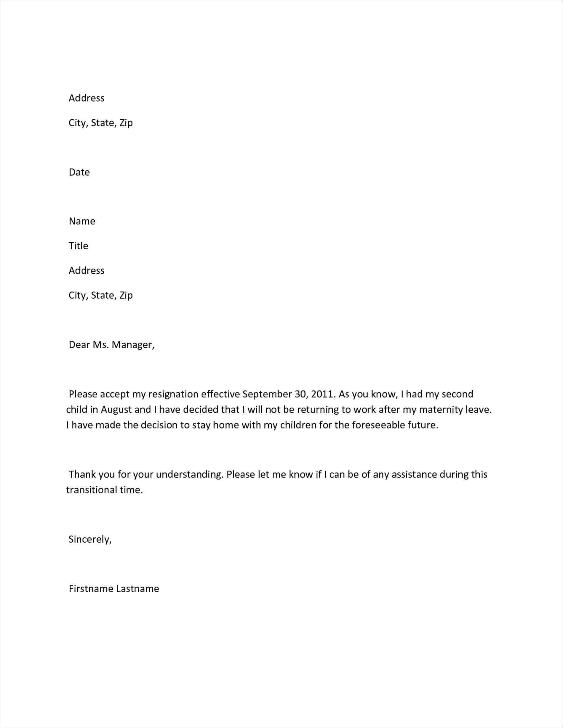 Maternity Return To Work Letter From Employer Template Samples