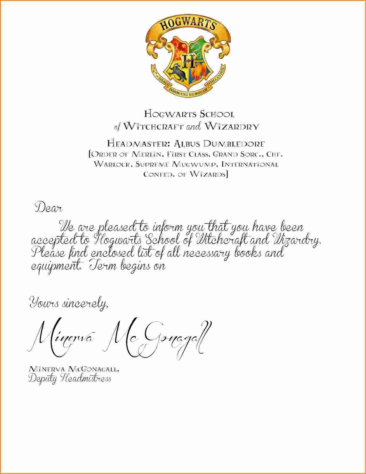 Harry Potter Invitation Letter Template - Letter Template New Hogwarts Certificate Template Gallery