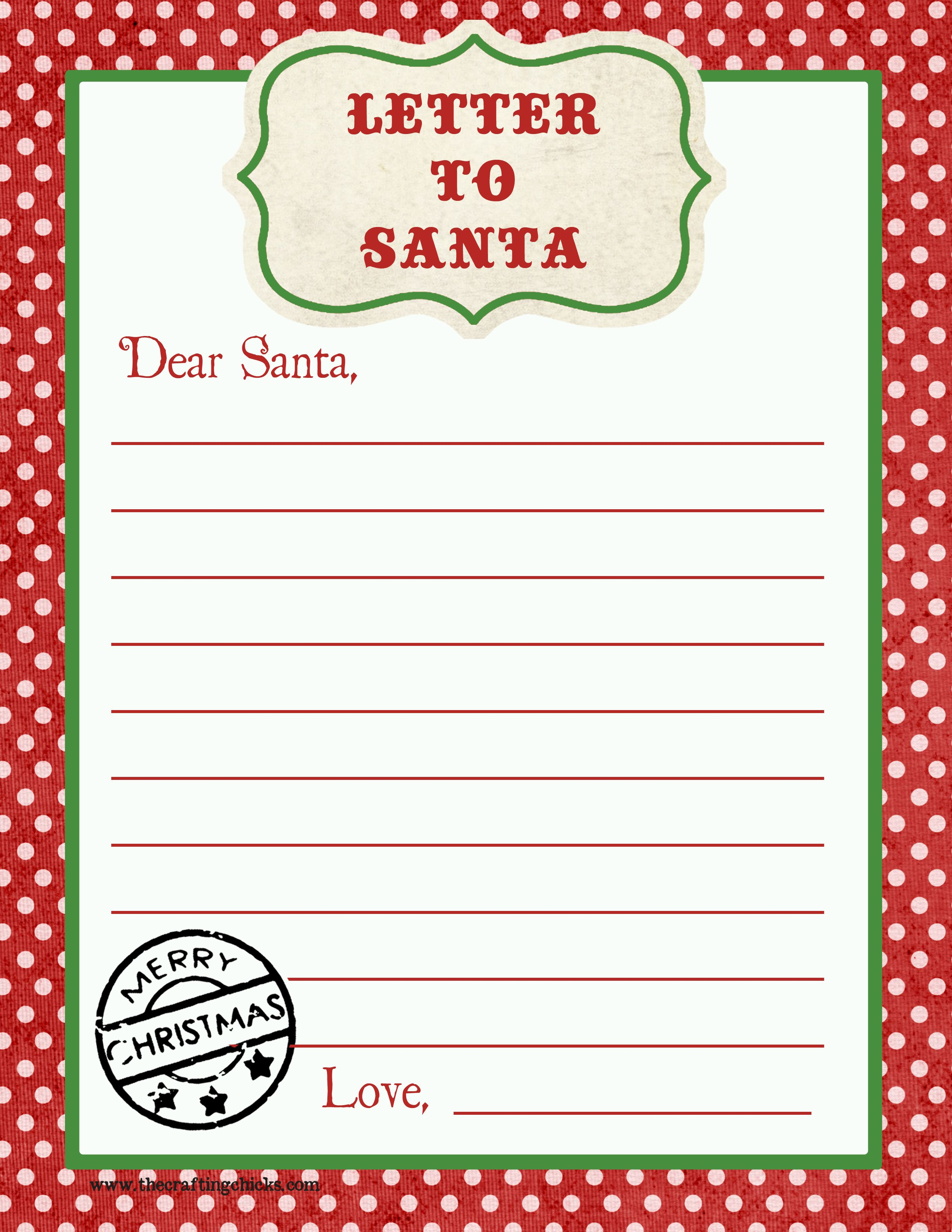 Letter From Santa Template Free Download - Letter to Santa Free Printable Download
