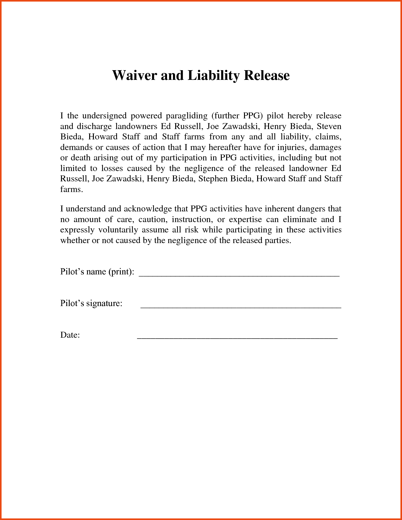 letter of release of liability template liability waiver template