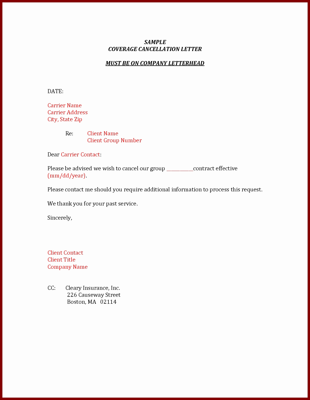 Car Insurance Cancellation Letter Template Examples | Letter Cover