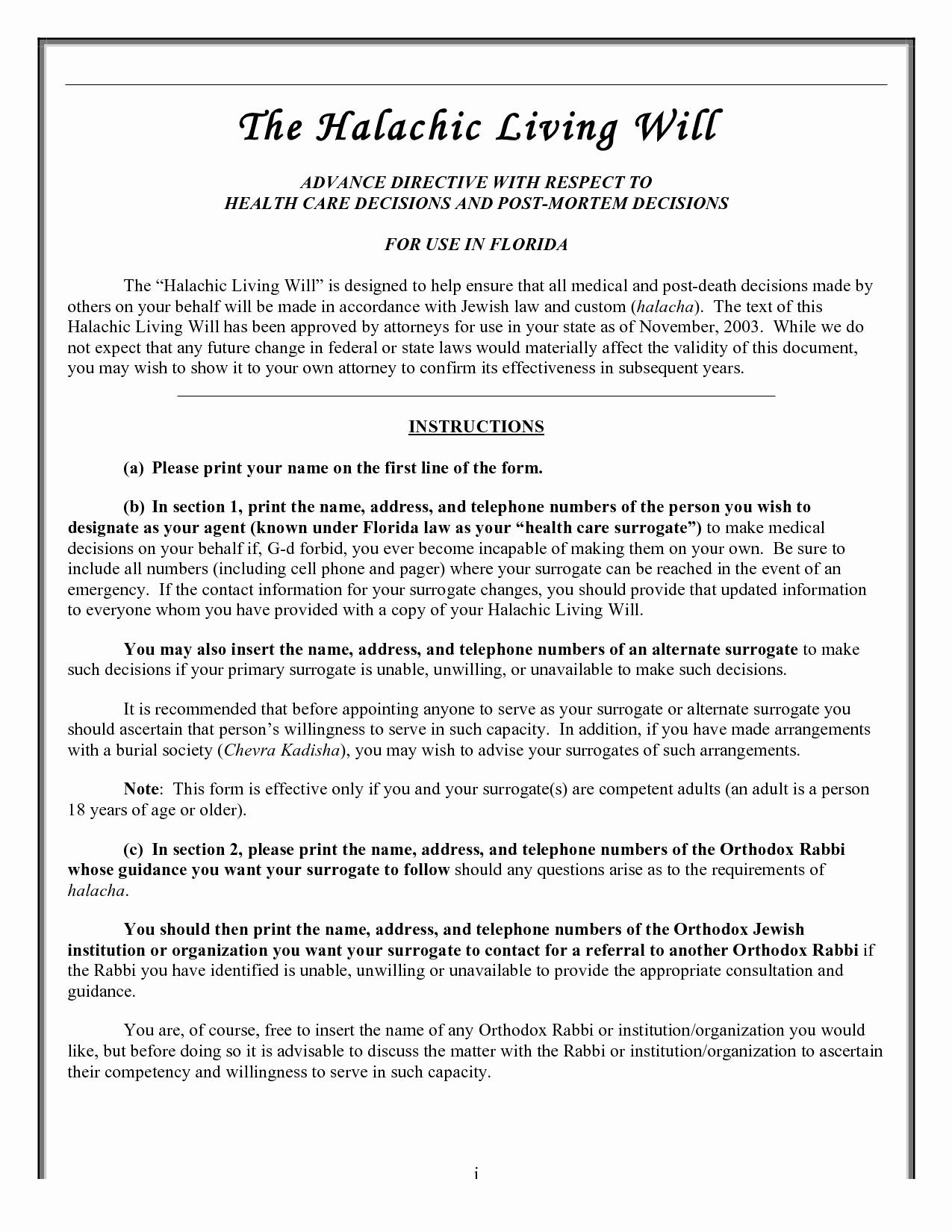Estate Planning Letter Of Instruction Template - Living Trust Templates Fresh Florida Living Will Requirements Free