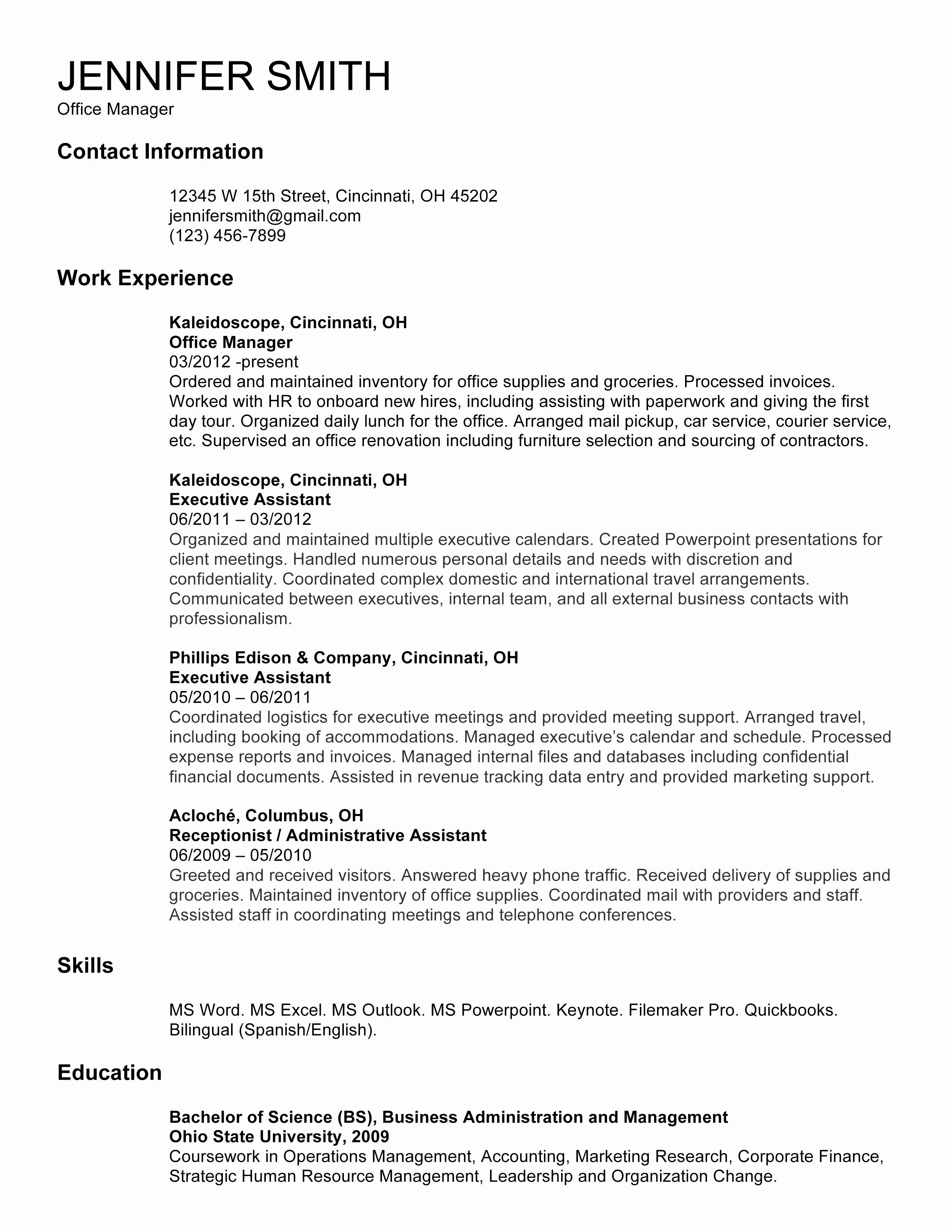 Cover Letter Template for Receptionist - Managerial Cover Letter Beautiful Reception Resume Luxury American