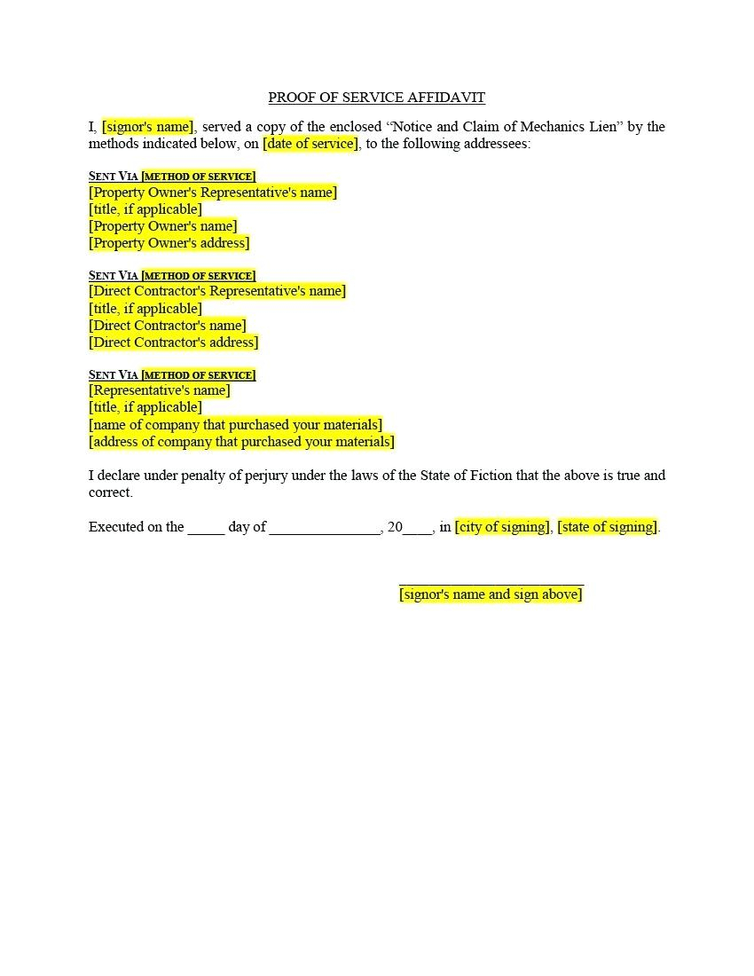 Mechanics Lien Letter Template - Mechanics Lien Letter Intente Address Change Notice Concept