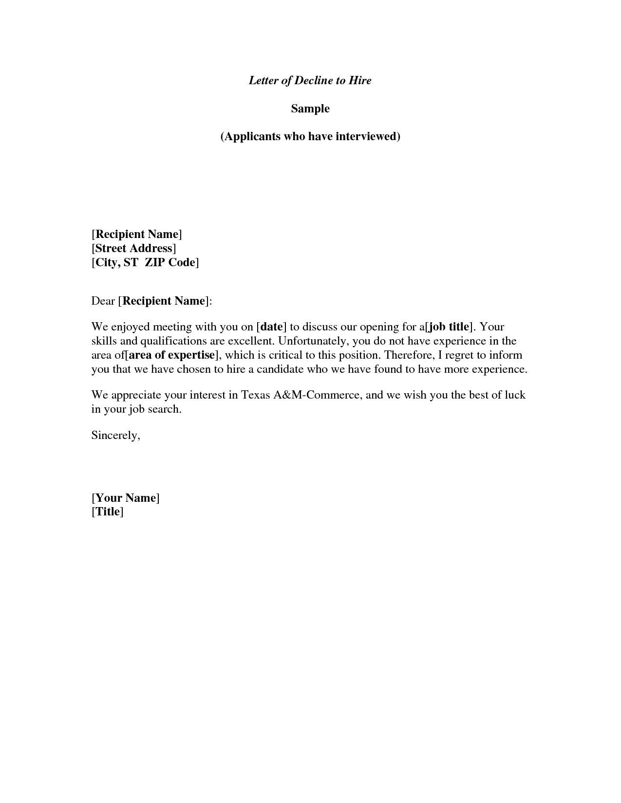 Rejection Letter Template after Interview - Meeting Decline Letter Well Written Example Letter for Declining